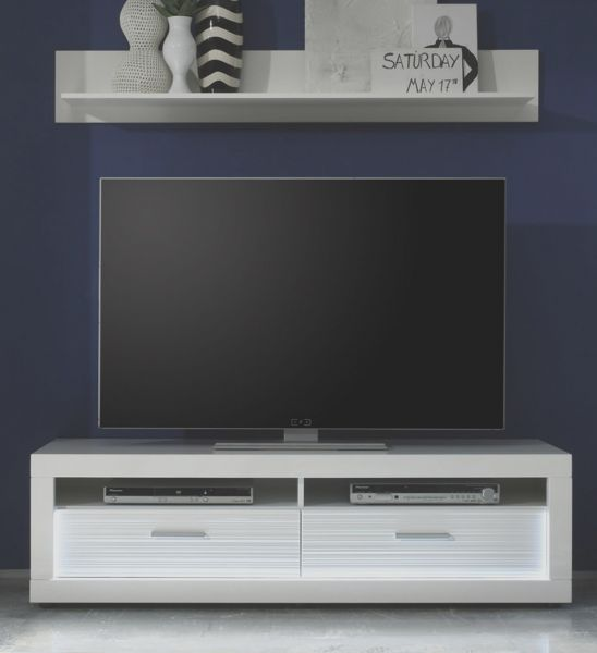 tv lowboard starlight hochglanz wei mit rillenoptik. Black Bedroom Furniture Sets. Home Design Ideas