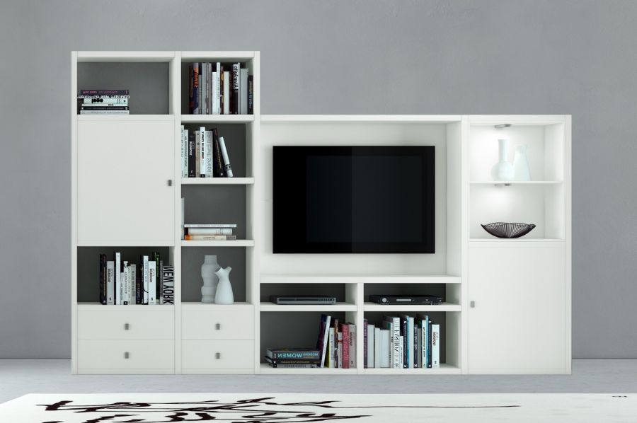 wohnwand b cherwand mediawand lack wei eiche. Black Bedroom Furniture Sets. Home Design Ideas