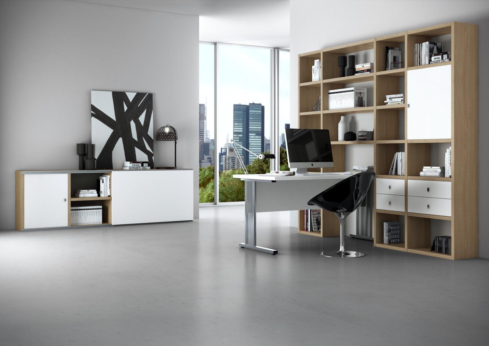 Bürowand / Homeoffice mit Schreibtisch Eiche weiß ...