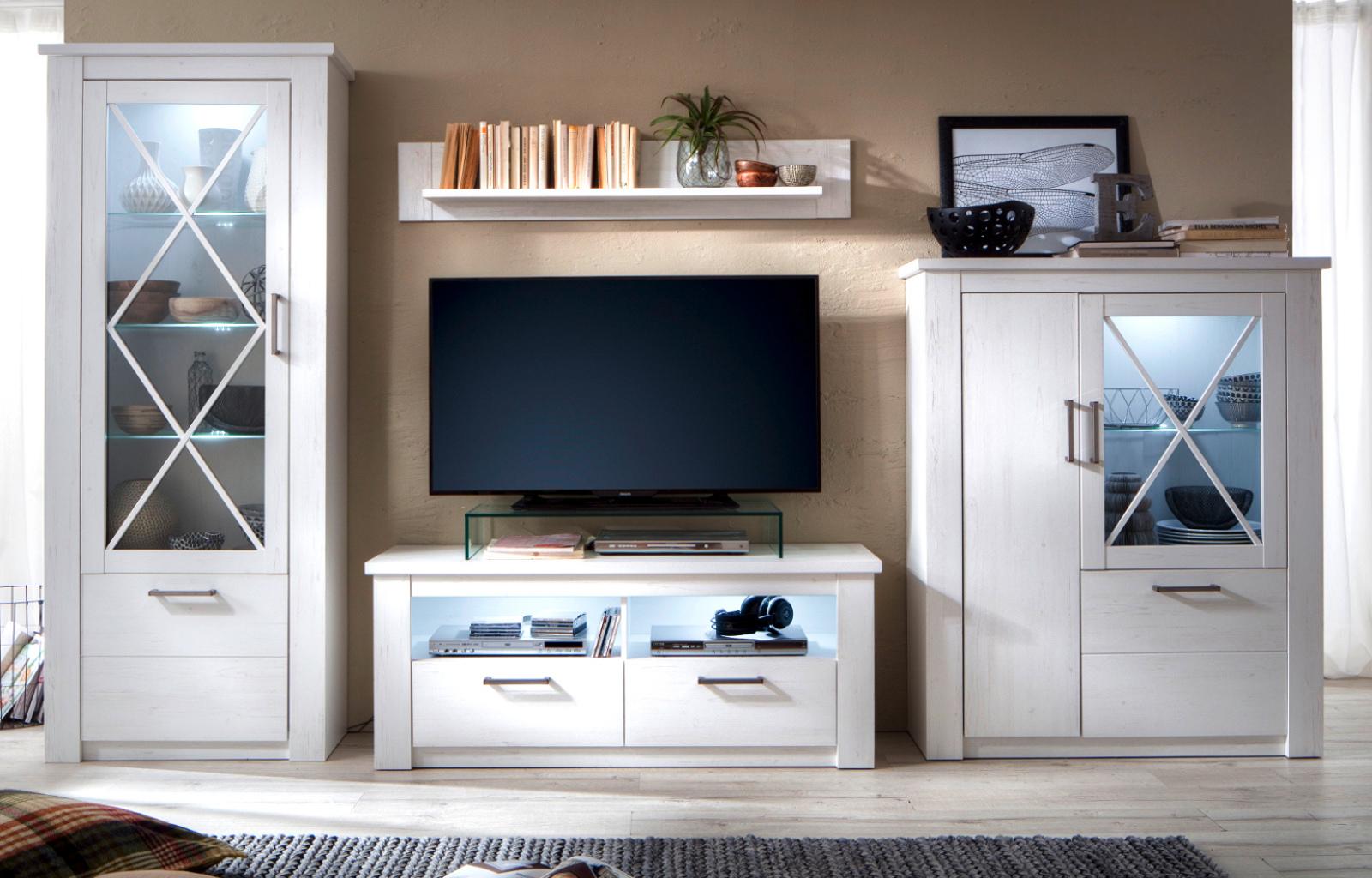 wohnwand georgia pinie struktur wei 4 teilig 365 cm. Black Bedroom Furniture Sets. Home Design Ideas