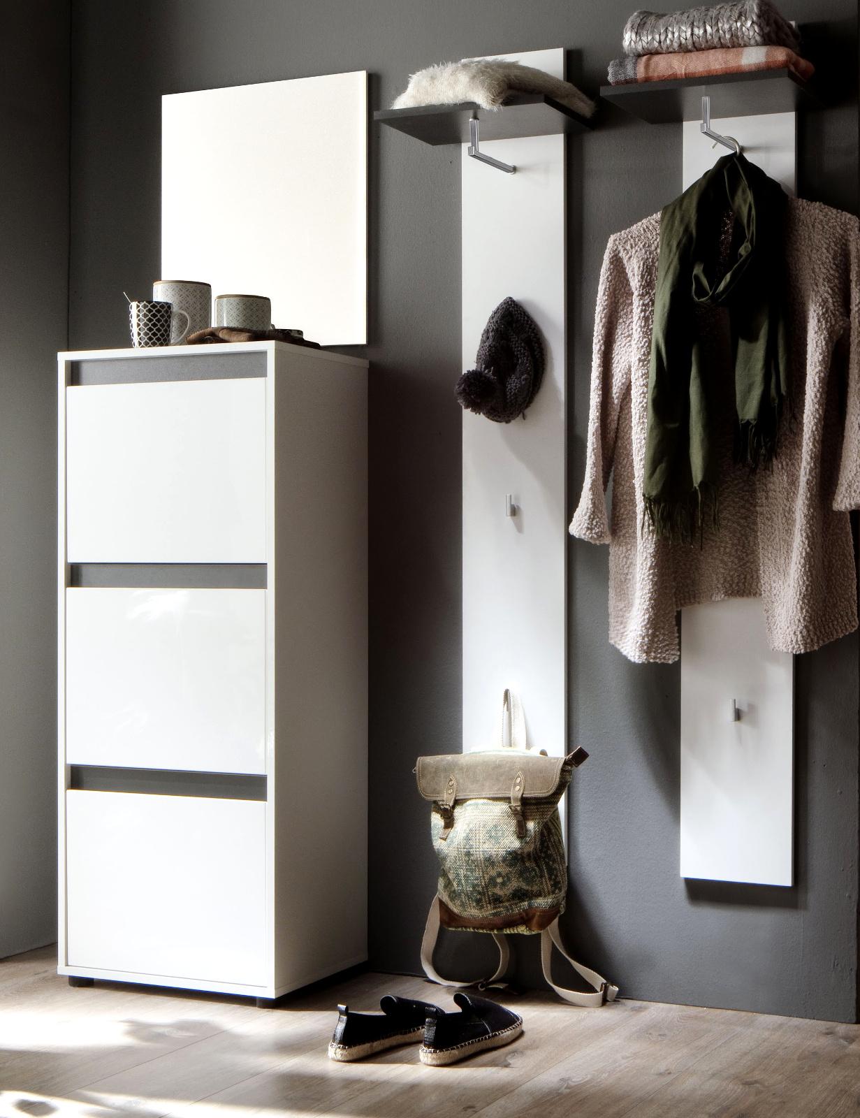 flurgarderobe sol lack hochglanz wei und grau dekor. Black Bedroom Furniture Sets. Home Design Ideas