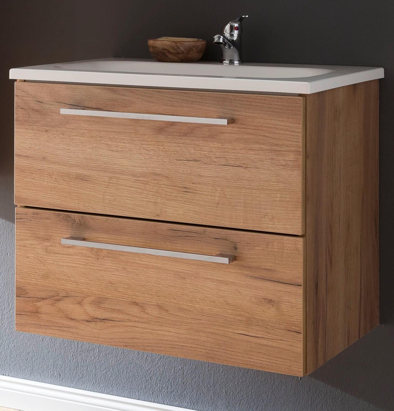 Waschbeckenunterschrank mit Waschbecken Eiche Trüffel 18 cm Waschtisch  Intenso