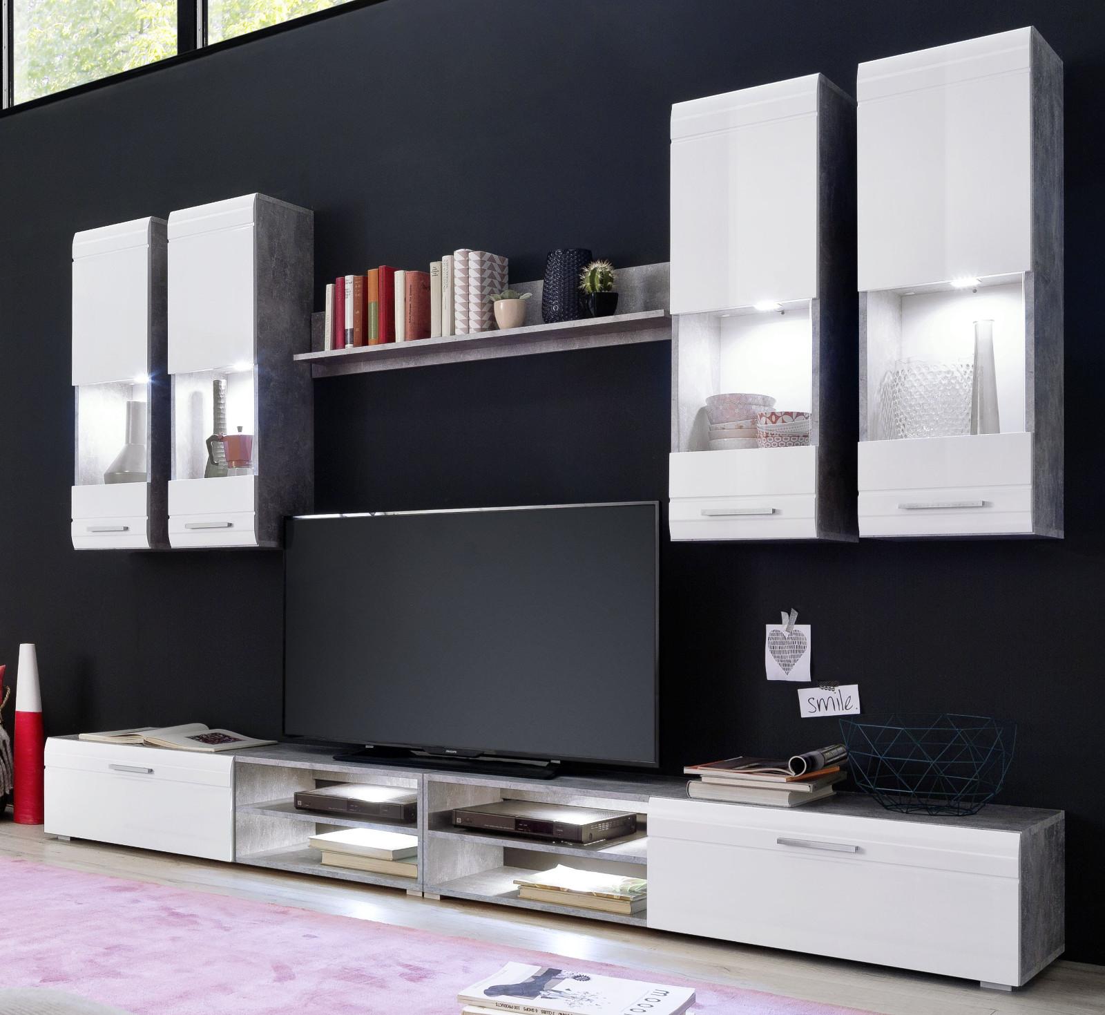 Wohnwand Spider Hochglanz Weiß Und Industrie Beton Stone Design Grau  Schrankwand 270 Cm Breit