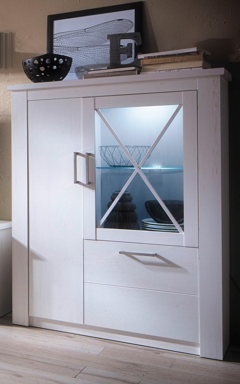 vitrinenschrank georgia pinie struktur wei 114x142 cm. Black Bedroom Furniture Sets. Home Design Ideas