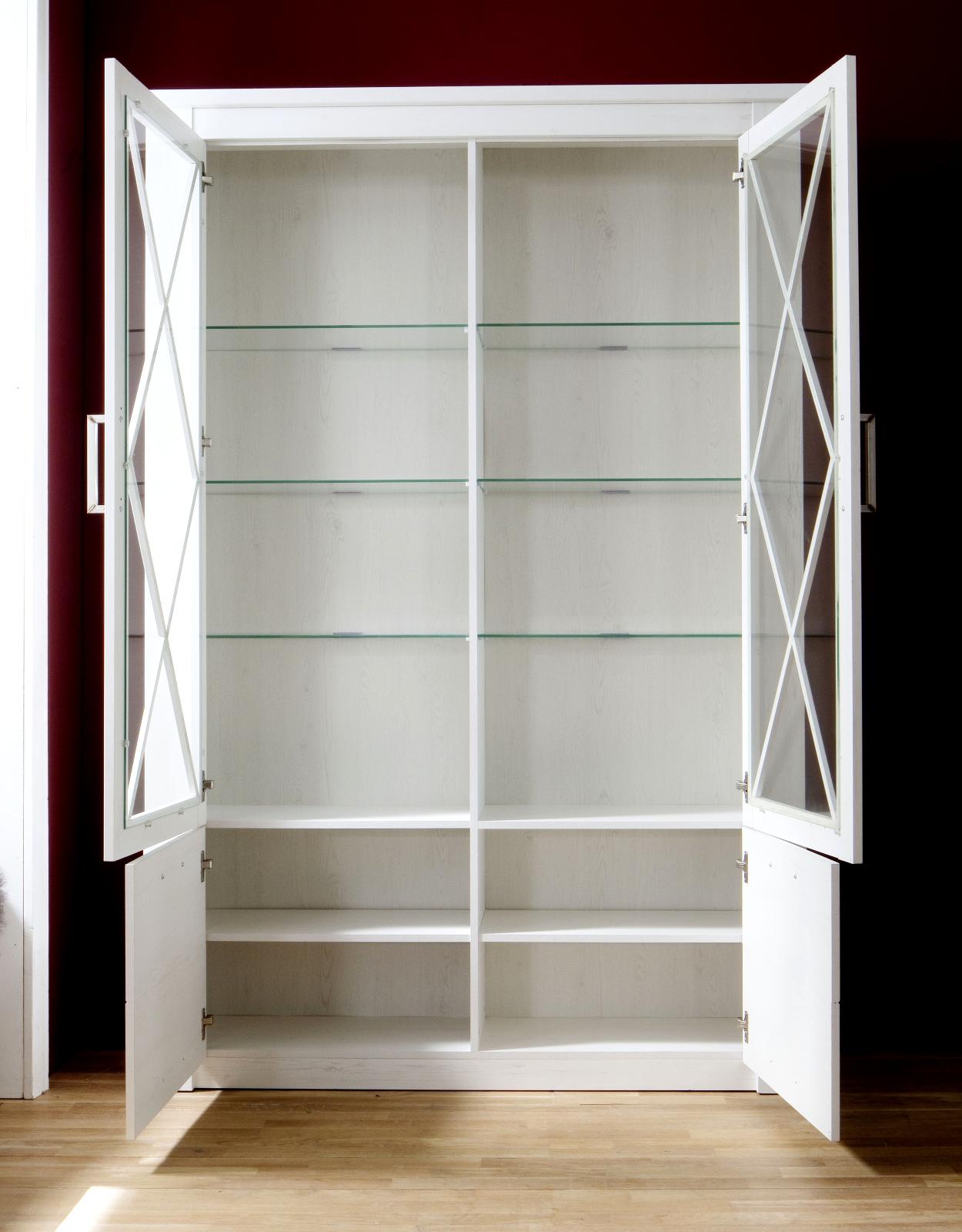 glas vitrine georgia pinie struktur wei 139x205 cm. Black Bedroom Furniture Sets. Home Design Ideas