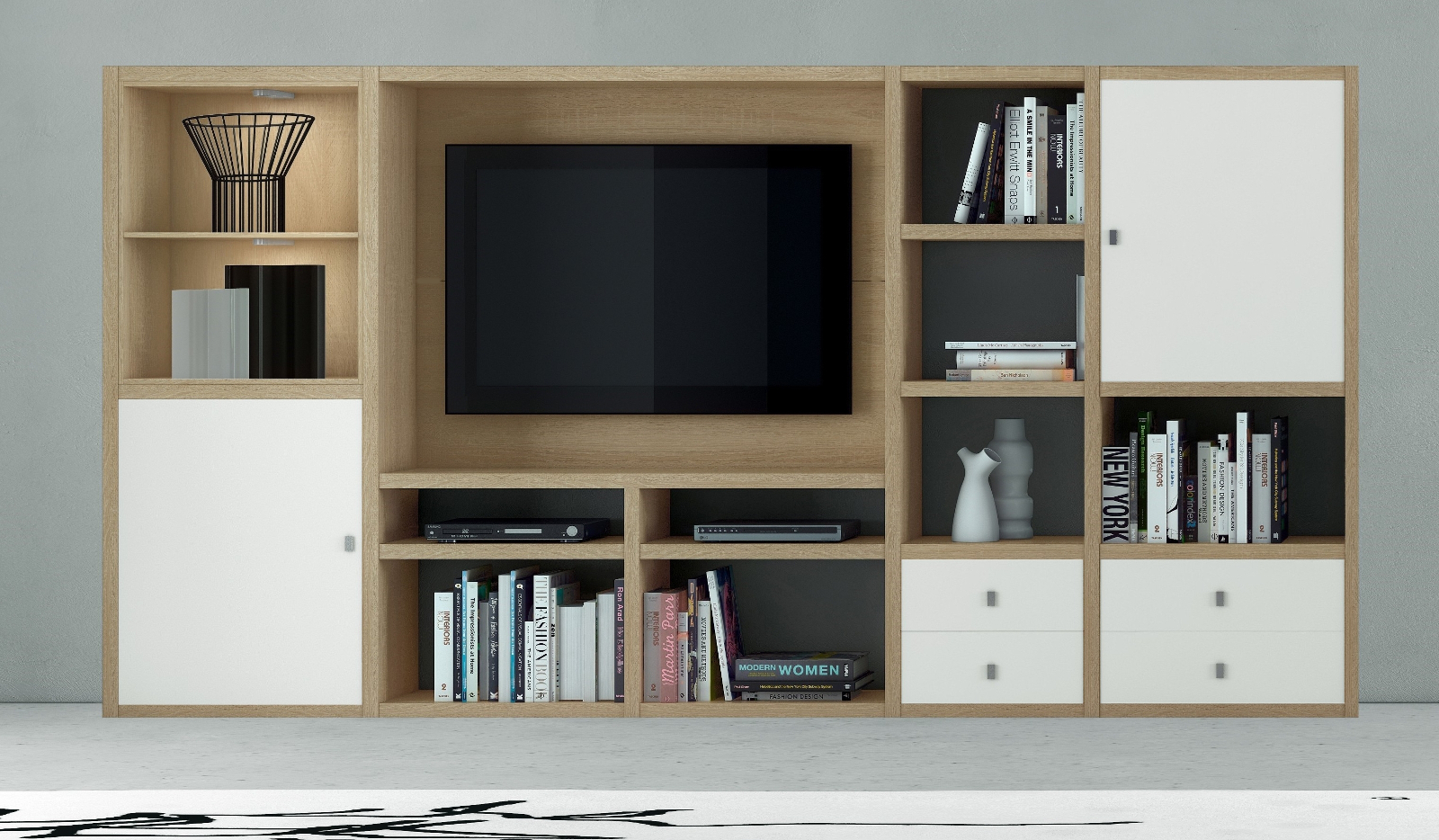 wohnwand b cherwand mediawand lack wei matt. Black Bedroom Furniture Sets. Home Design Ideas