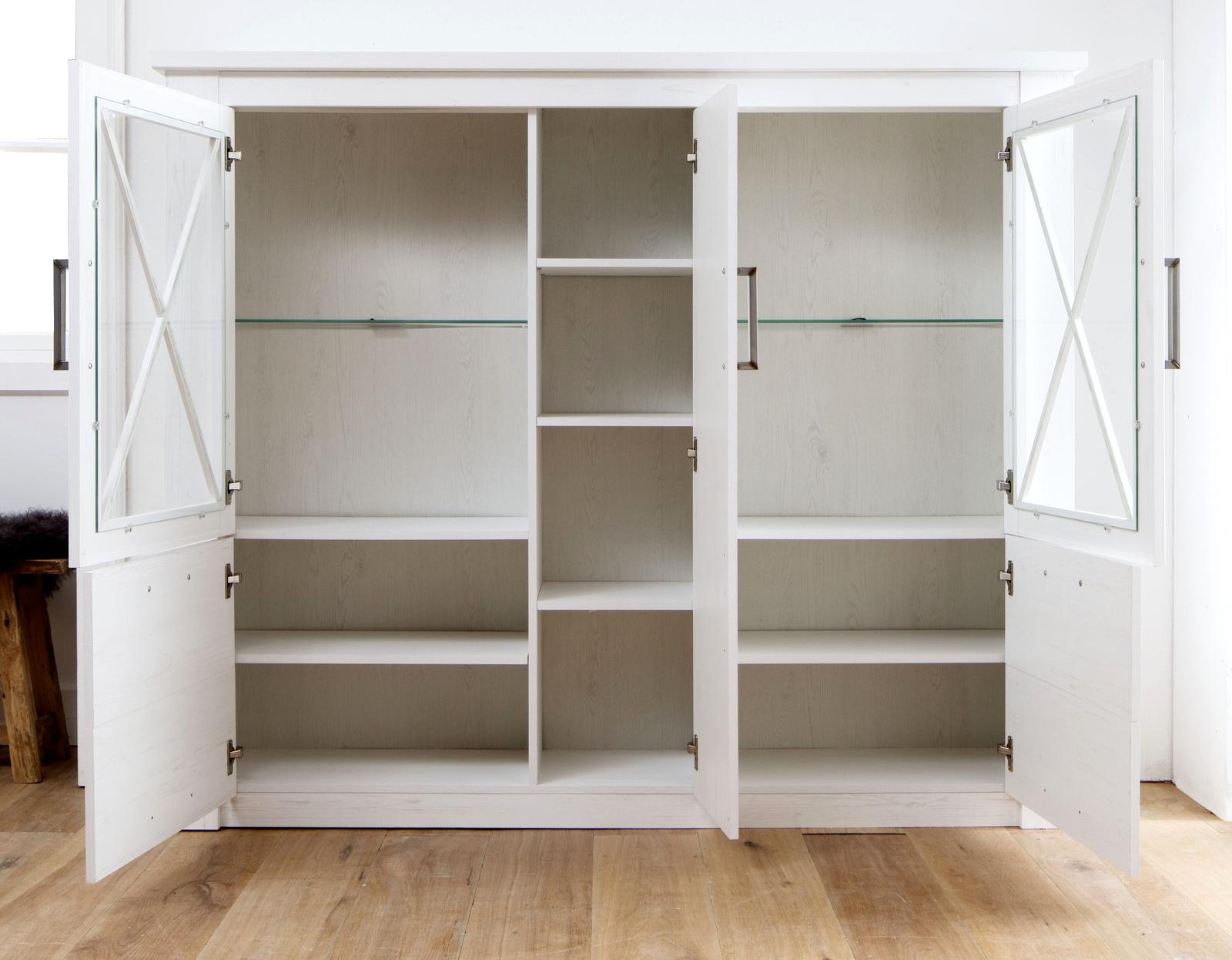 highboard georgia in pinie struktur wei 114x142 cm. Black Bedroom Furniture Sets. Home Design Ideas