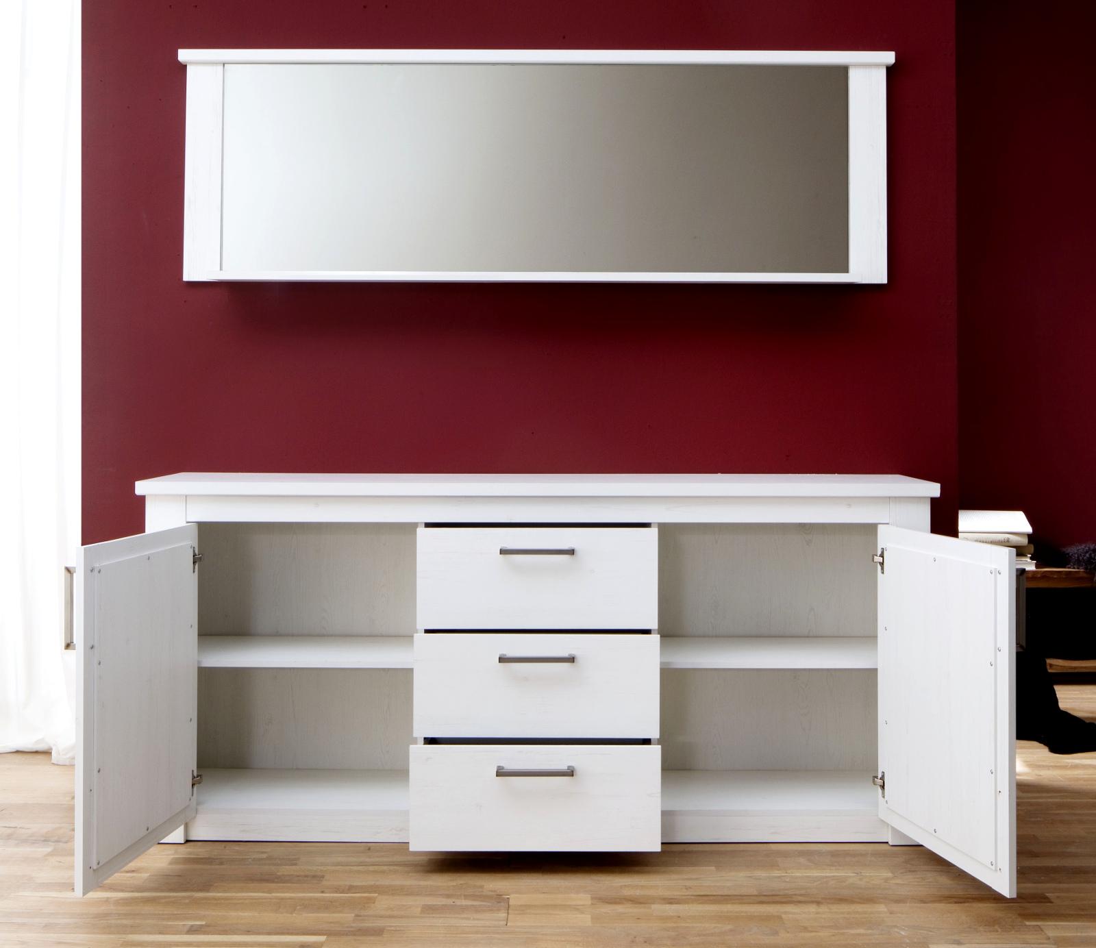 sideboard georgia in pinie struktur wei 197x88 cm. Black Bedroom Furniture Sets. Home Design Ideas