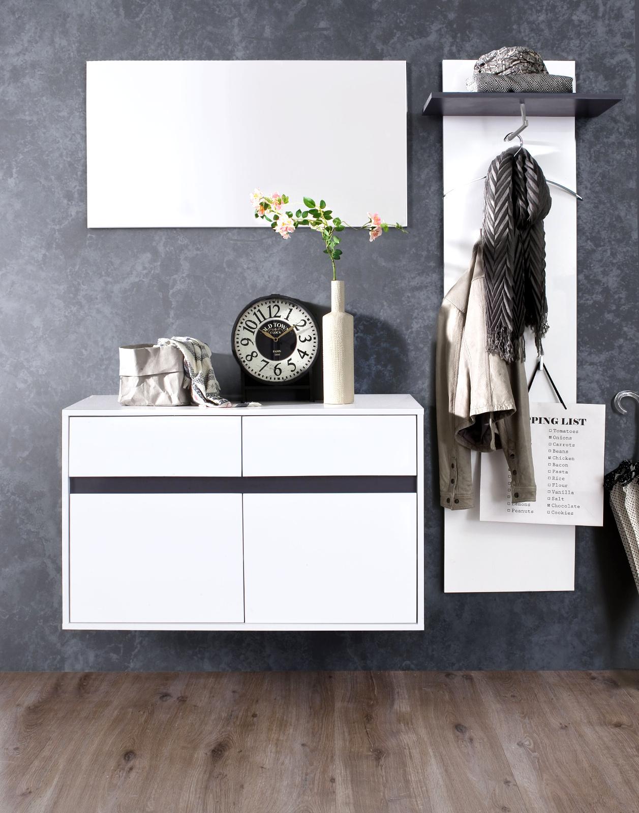 flurgarderobe sol lack hochglanz wei und grau 3 teilig. Black Bedroom Furniture Sets. Home Design Ideas