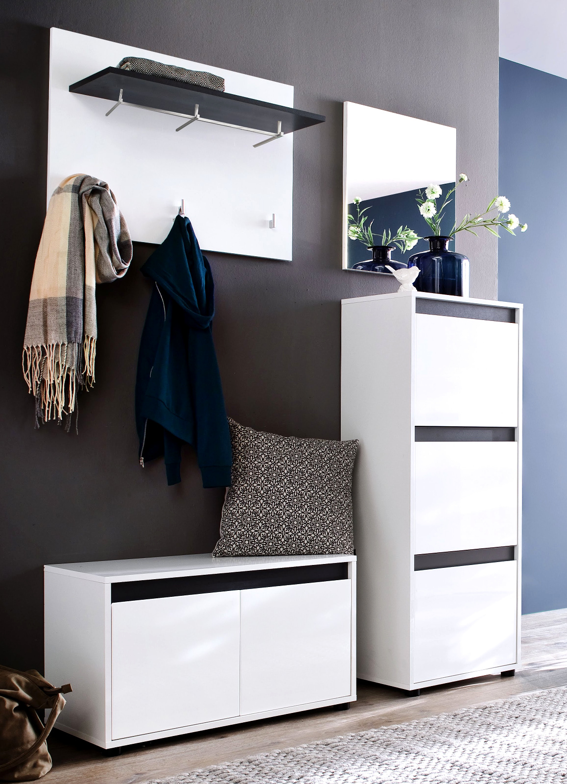 flurgarderobe sol lack hochglanz wei und grau 4 teilig. Black Bedroom Furniture Sets. Home Design Ideas