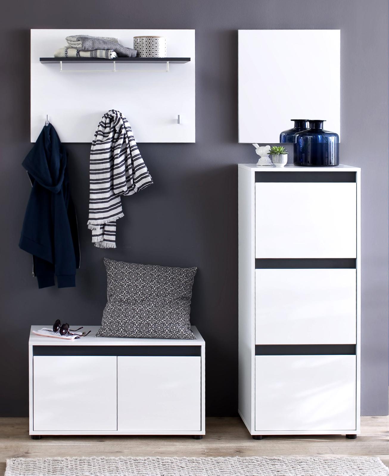 flurgarderobe sol lack hochglanz wei und grau 4 teilig. Black Bedroom Furniture Sets. Home Design Ideas