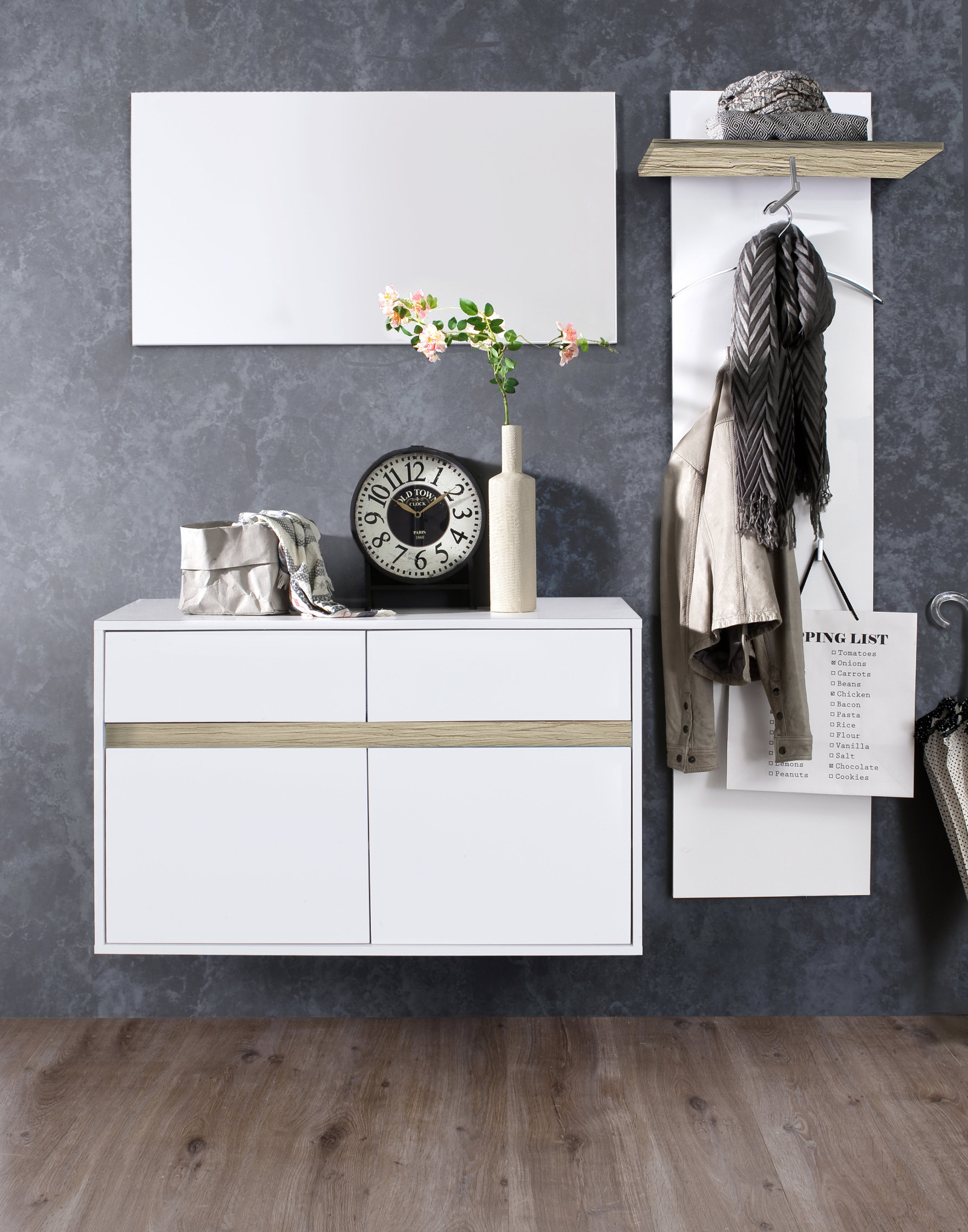 Wandspiegel Garderobenspiegel Sol Weiss 96x50 Cm