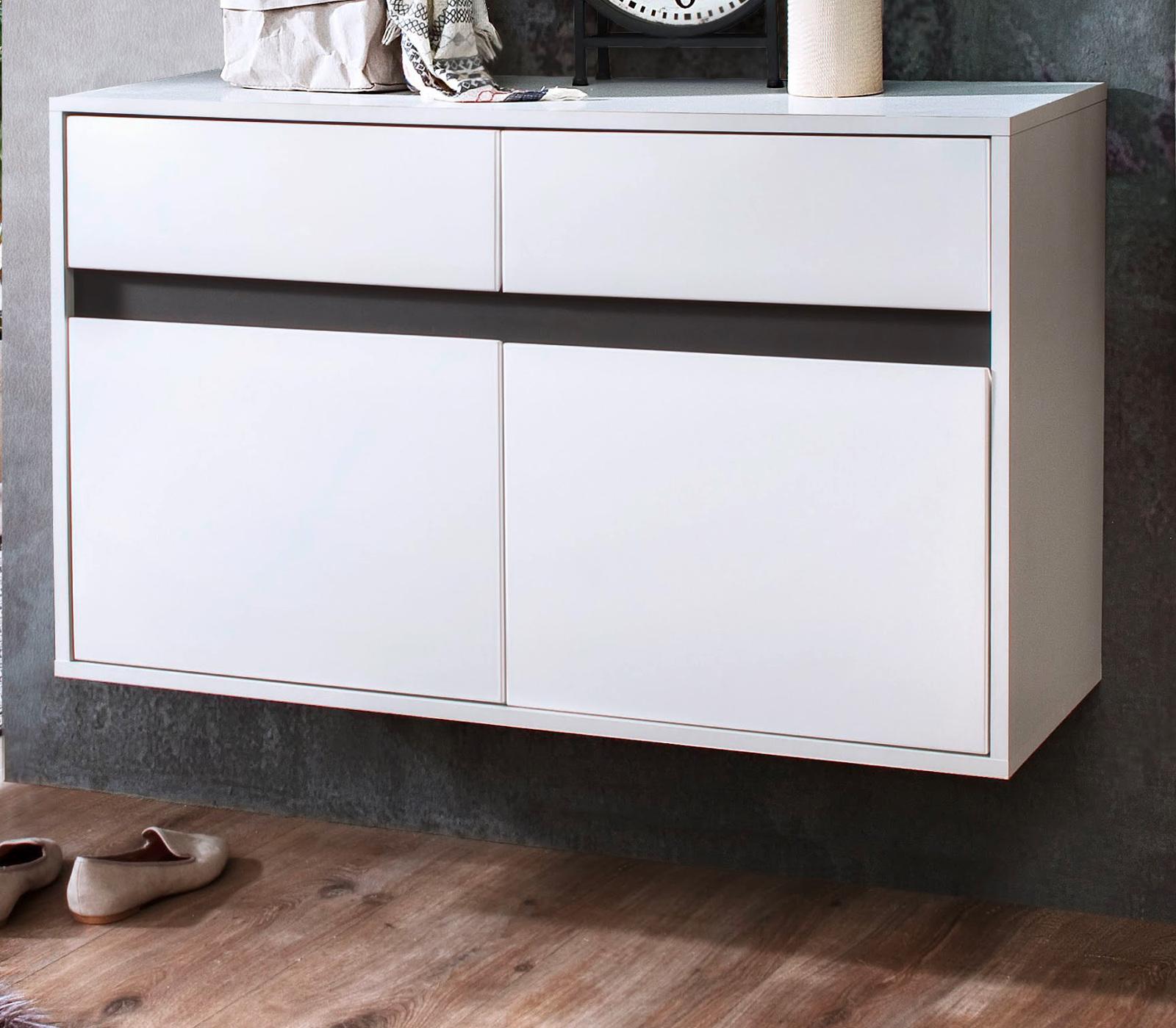 schuhschrank sol lack hochglanz wei und grau 97x60 cm. Black Bedroom Furniture Sets. Home Design Ideas