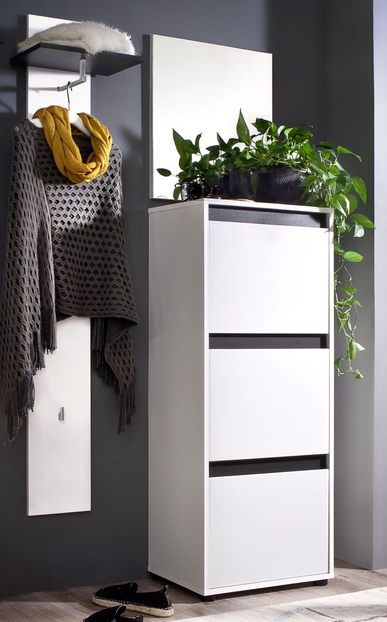 Wand garderobenpaneel sol lack hochglanz wei und grau for Garderobenpaneel grau