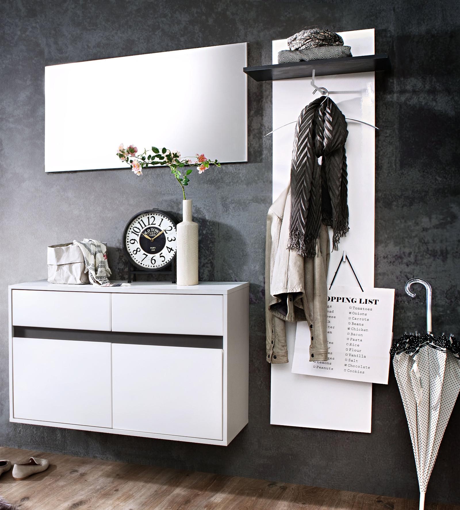 flur garderobenpaneel sol lack hochglanz wei und grau. Black Bedroom Furniture Sets. Home Design Ideas