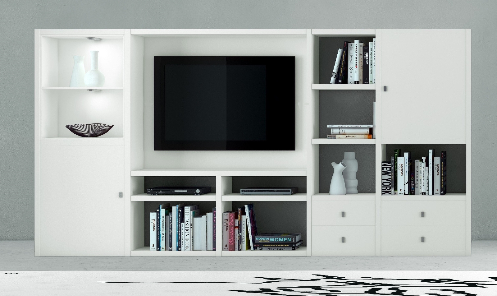 wohnwand b cherwand mediawand eiche lack wei. Black Bedroom Furniture Sets. Home Design Ideas