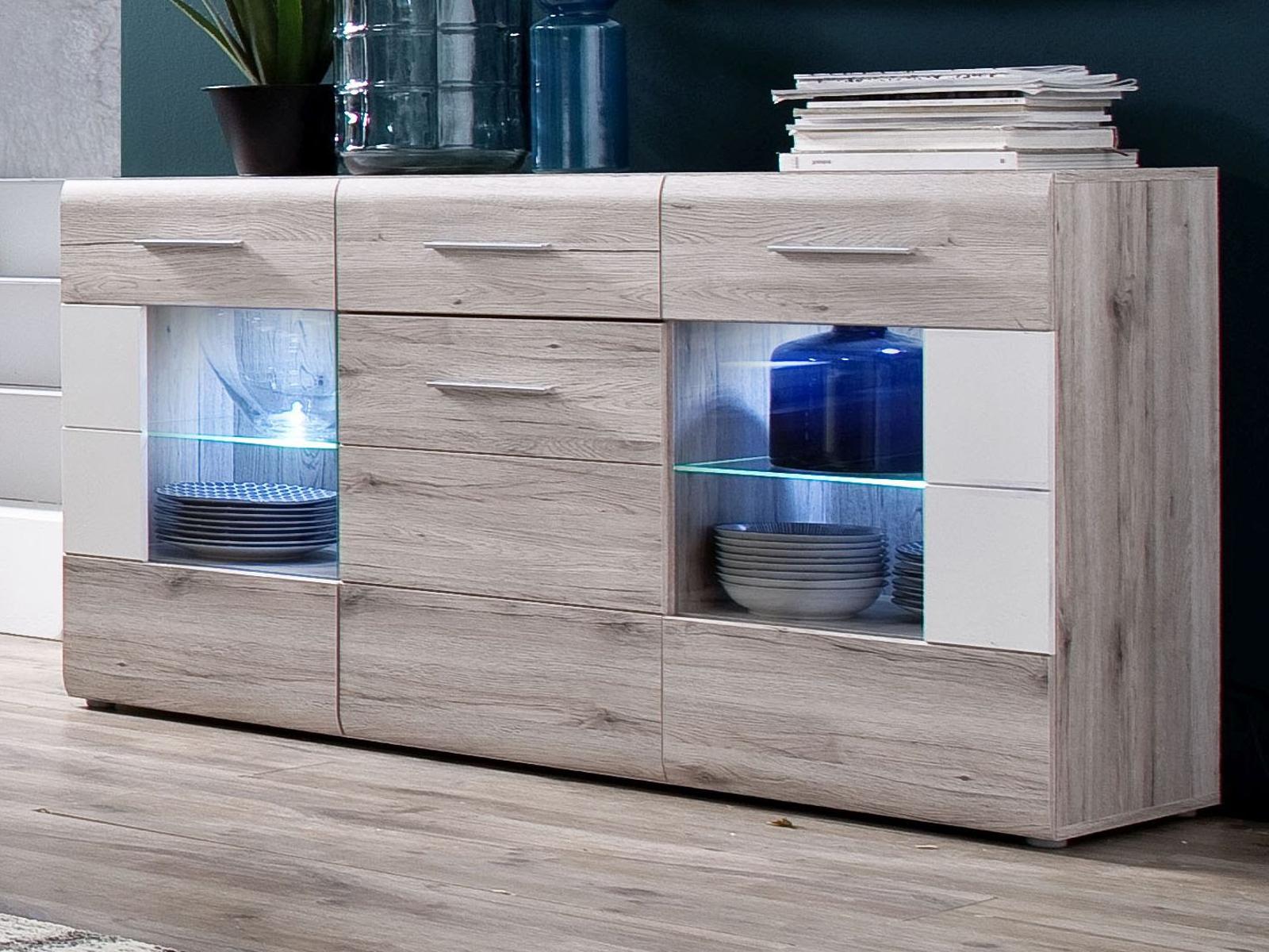 sideboard apollo eiche san remo sand und hochglanz wei. Black Bedroom Furniture Sets. Home Design Ideas