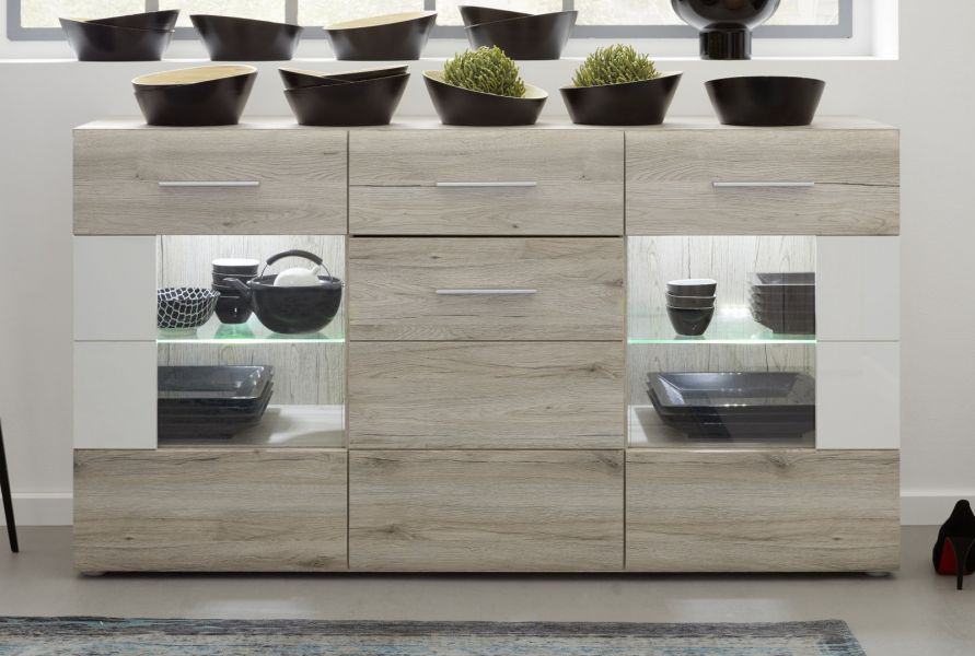 sideboard apollo eiche san remo sand und hochglanz wei. Black Bedroom Furniture Sets. Home Design Ideas