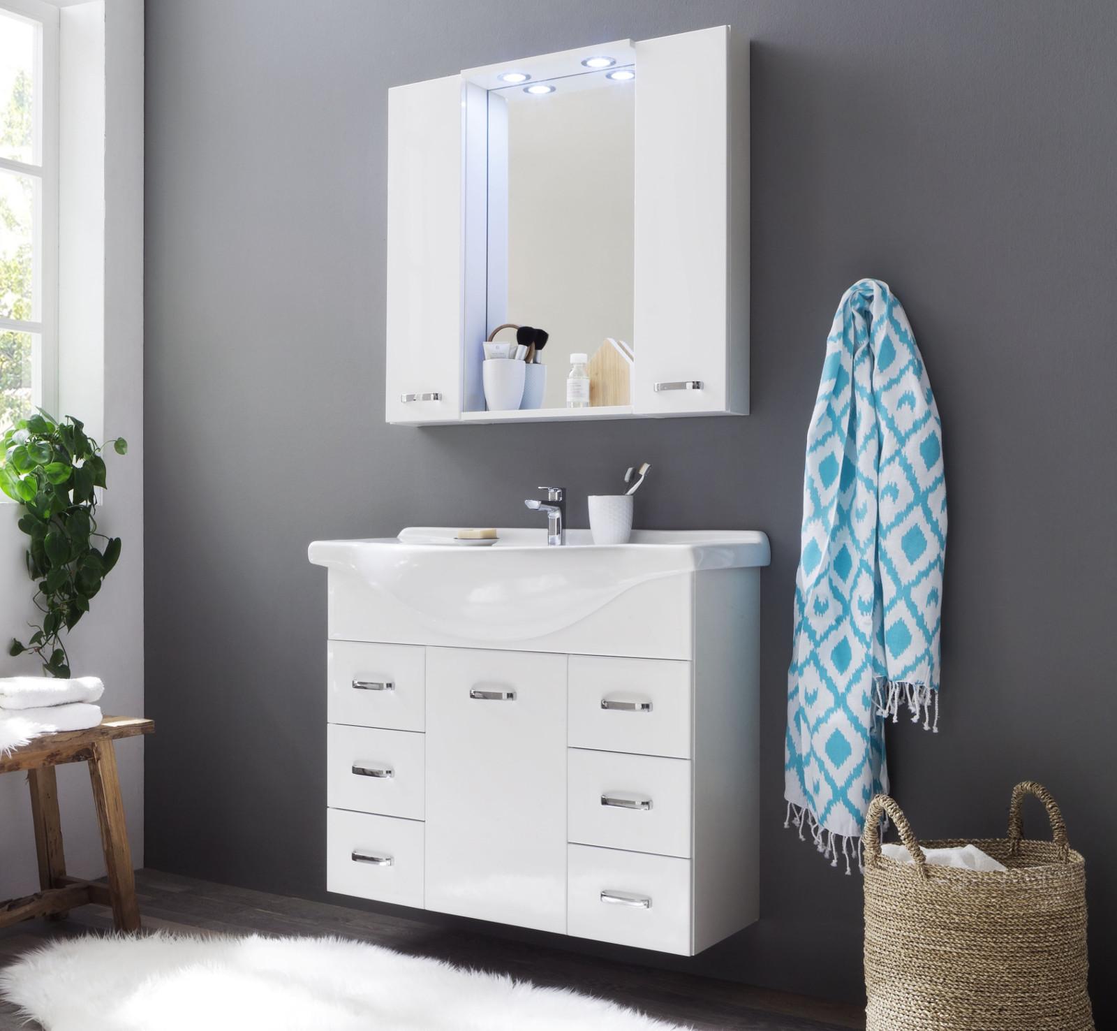 badm bel set aqua hochglanz wei 2 teilig. Black Bedroom Furniture Sets. Home Design Ideas