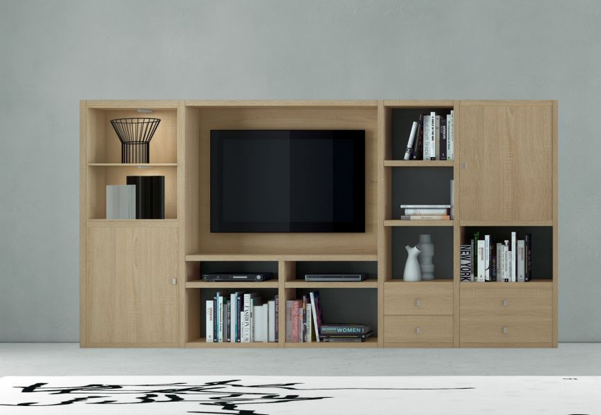 wohnwand b cherwand mediawand eiche natur. Black Bedroom Furniture Sets. Home Design Ideas