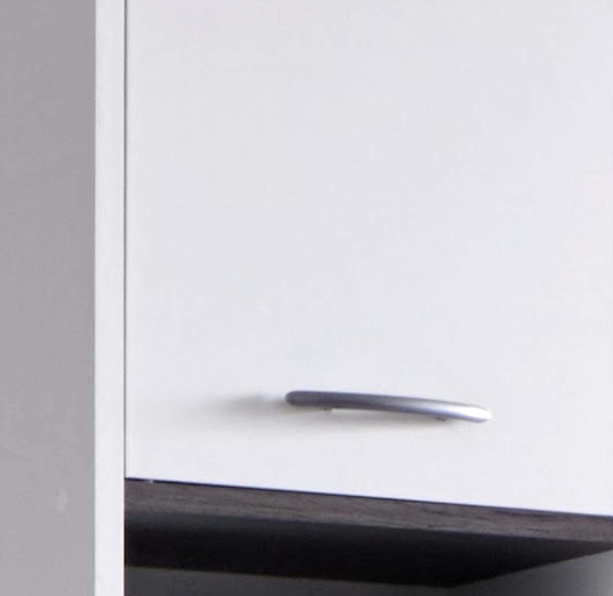 Badmöbel Set California Weiß Und Rauchsilber 2 Teilig Mit  Waschbeckenunterschrank Und Spiegel