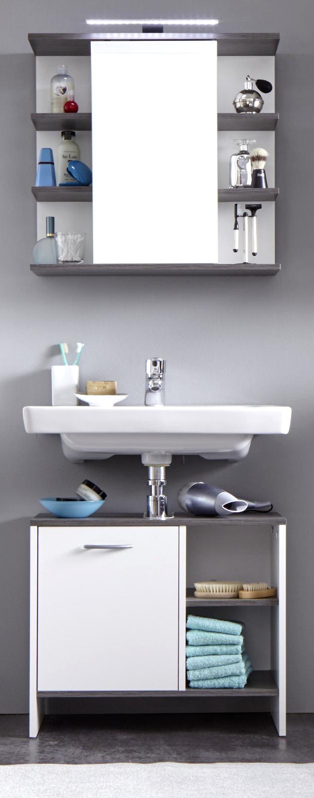 badezimmer set california wei und rauchsilber 2 teilig. Black Bedroom Furniture Sets. Home Design Ideas