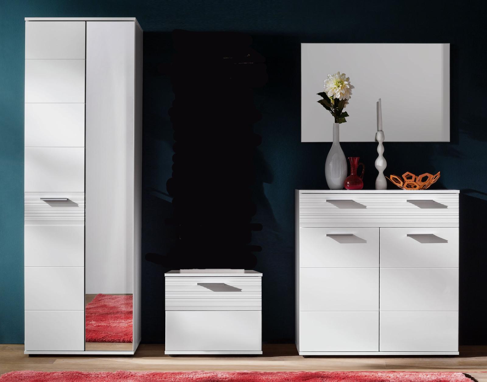 garderobe ice hochglanz wei mit rillenoptik 4 teilig. Black Bedroom Furniture Sets. Home Design Ideas