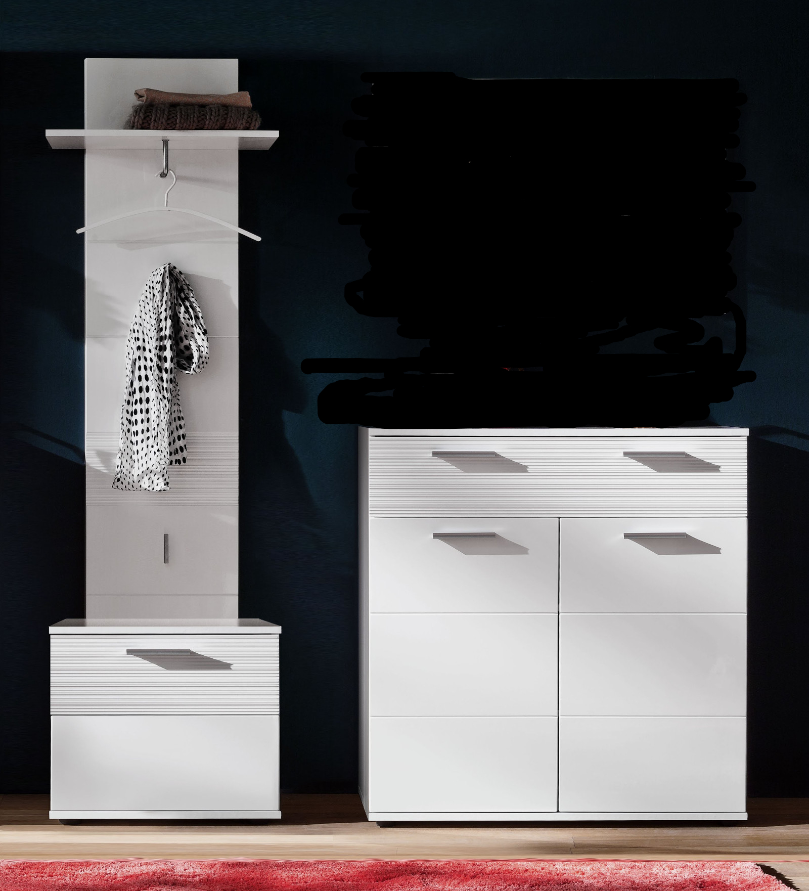 garderobe ice hochglanz wei mit rillenoptik 3 teilig. Black Bedroom Furniture Sets. Home Design Ideas