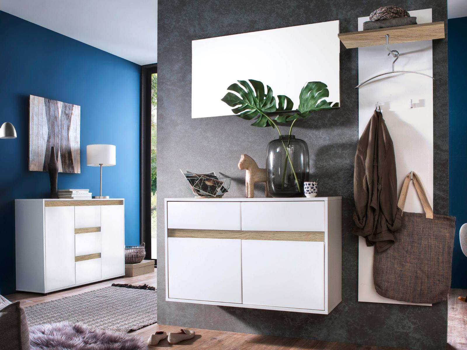 schuhschrank sol hochglanz wei und alteiche 97x60 cm. Black Bedroom Furniture Sets. Home Design Ideas