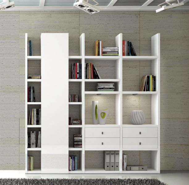 wohnwand b cherwand bibliothek lack wei matt. Black Bedroom Furniture Sets. Home Design Ideas