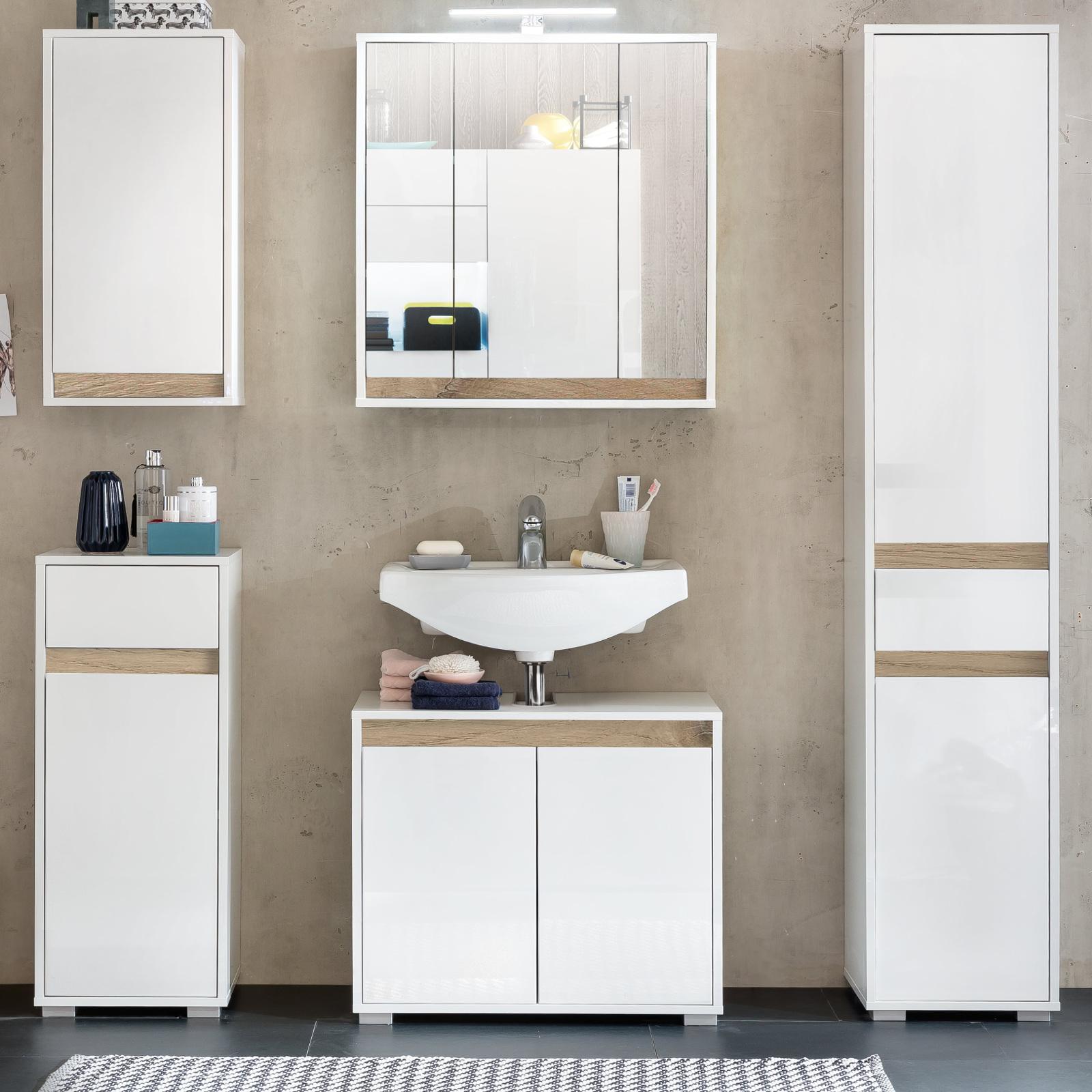 bad h ngeschrank sol hochglanz wei und alteiche. Black Bedroom Furniture Sets. Home Design Ideas