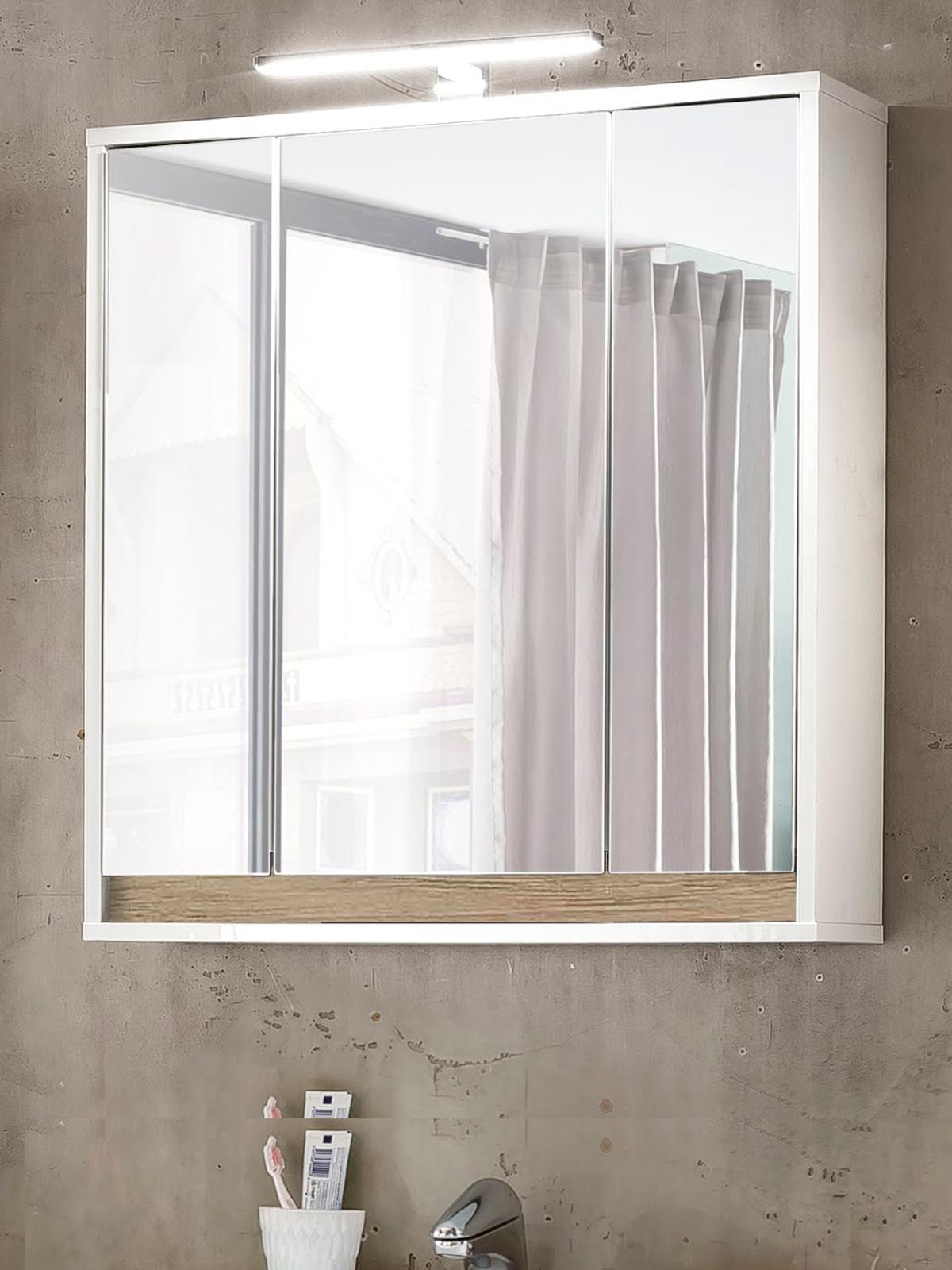 Bad Spiegelschrank Sol 3-türig weiß und Alteiche Dekor