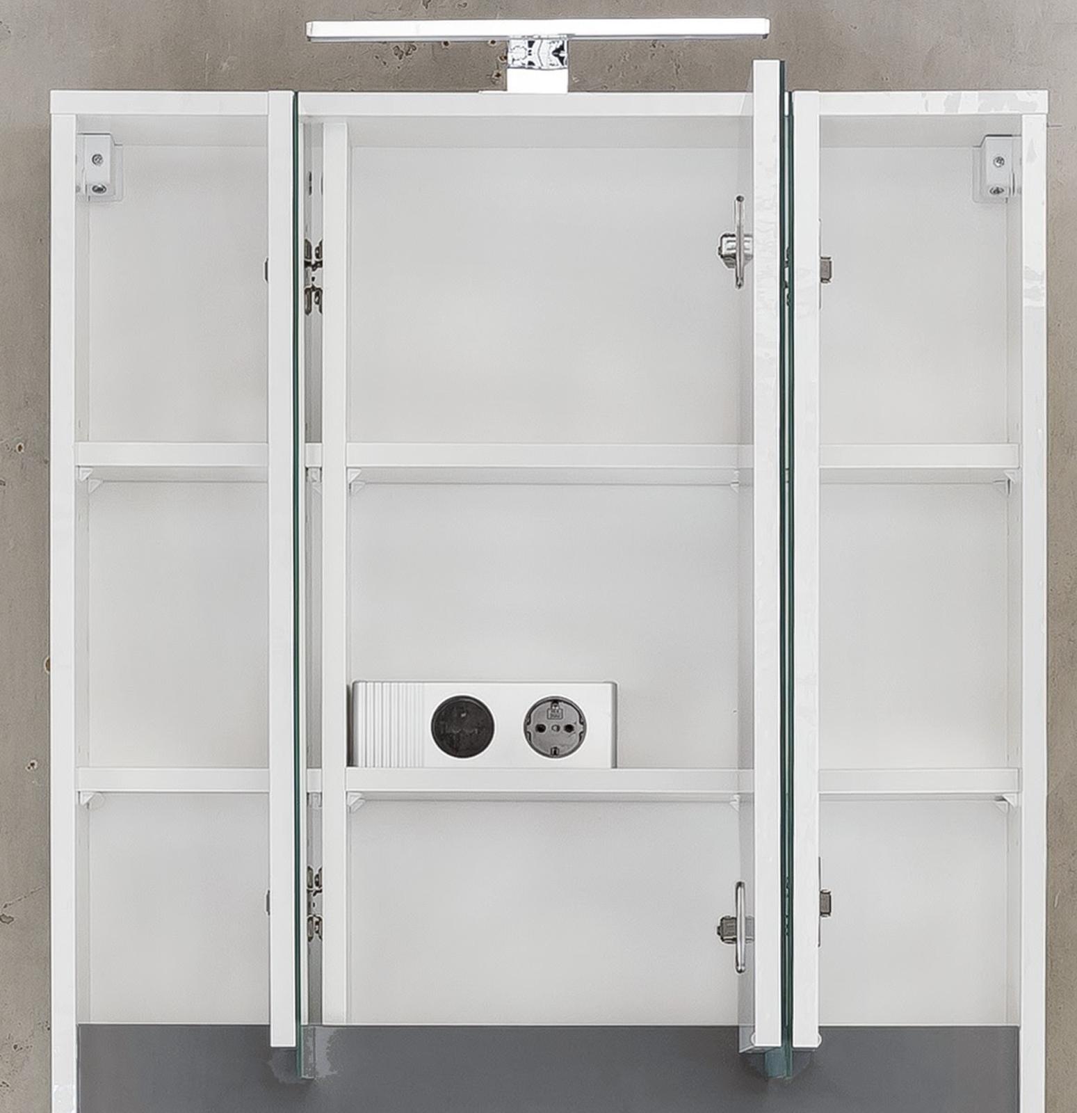 Beeindruckend Spiegelschrank 3 Türig Foto Von Bad Türen 3d In Weiß Und Alteiche