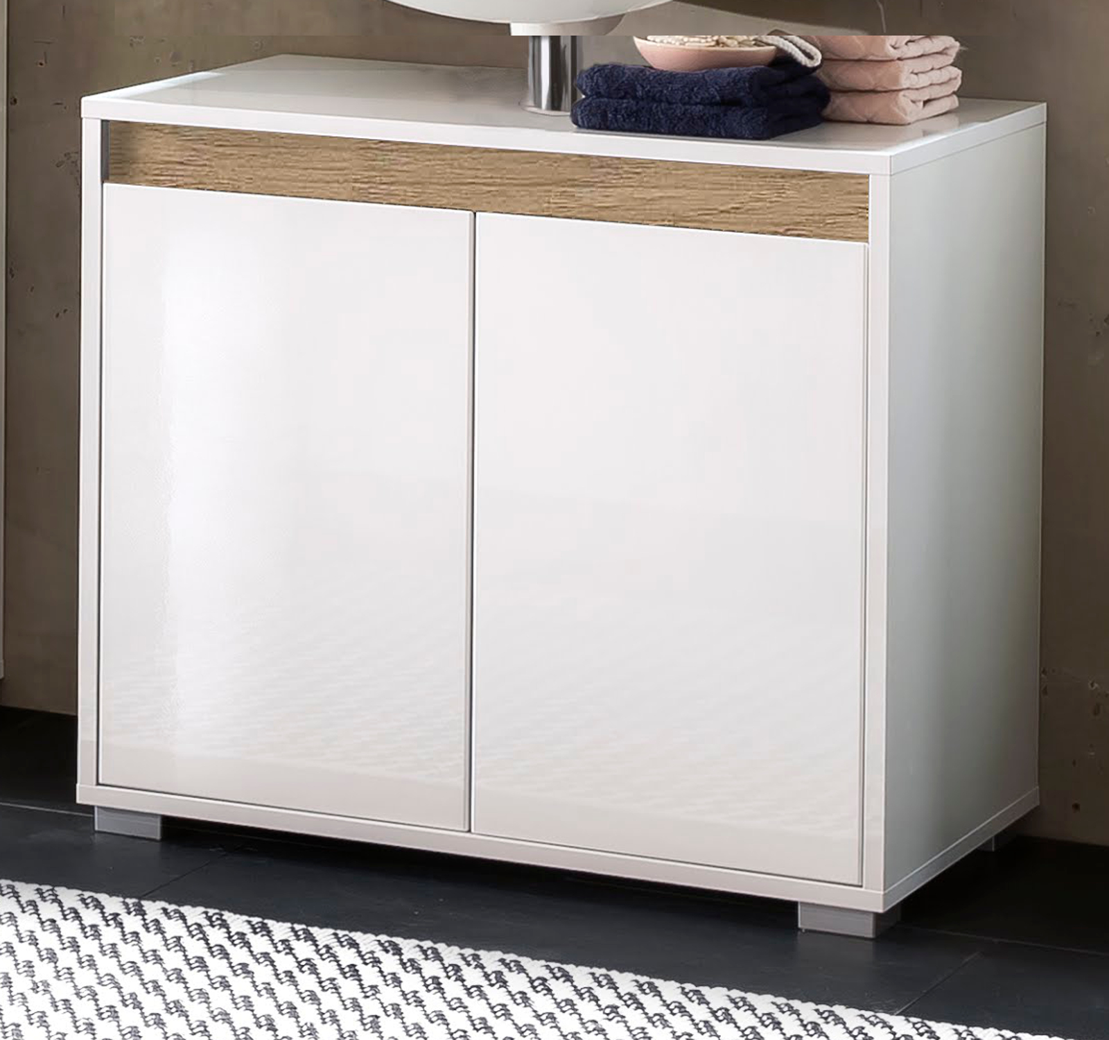 waschbeckenunterschrank sol hochglanz wei und alteiche. Black Bedroom Furniture Sets. Home Design Ideas