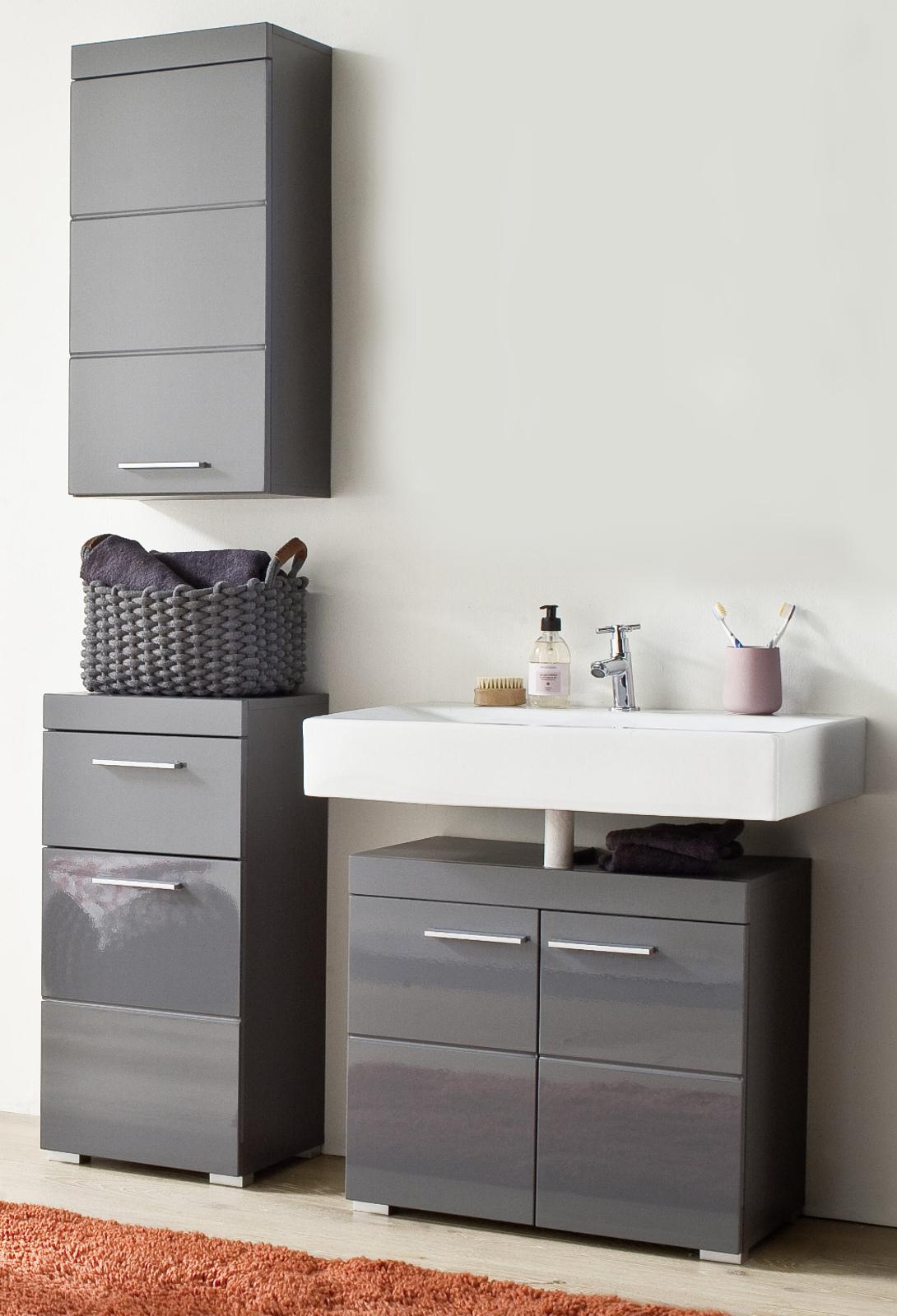 badm bel set amanda in hochglanz grau 3 teilig. Black Bedroom Furniture Sets. Home Design Ideas