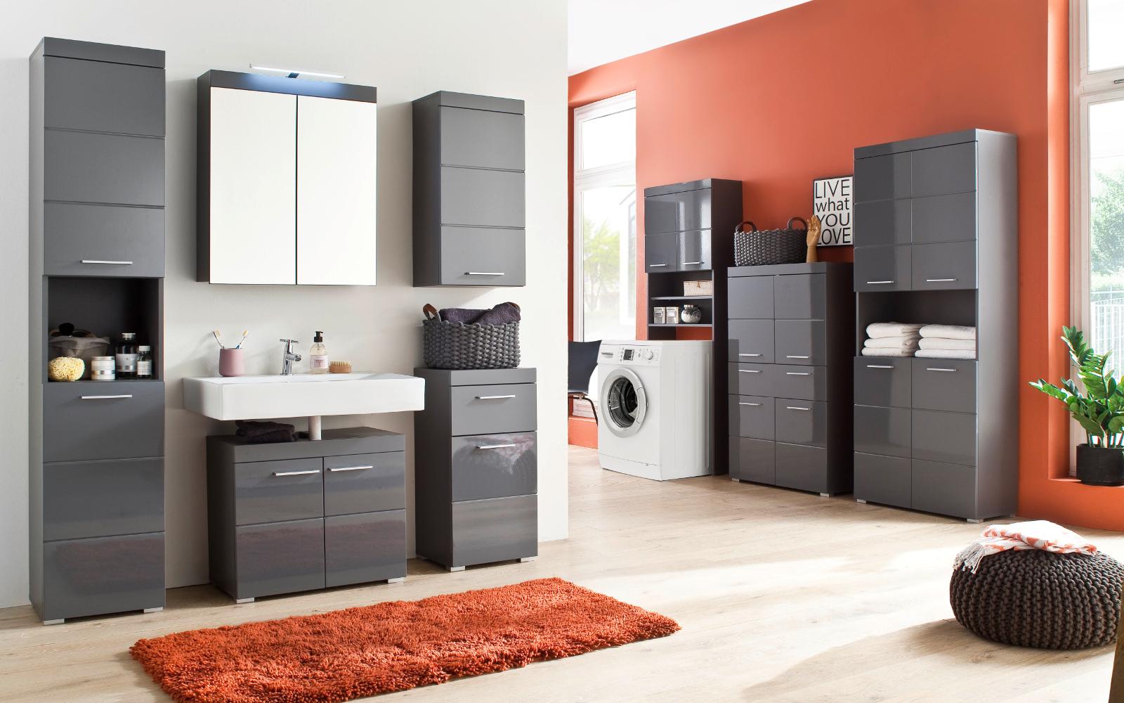 badezimmer standschrank amanda in hochglanz grau. Black Bedroom Furniture Sets. Home Design Ideas