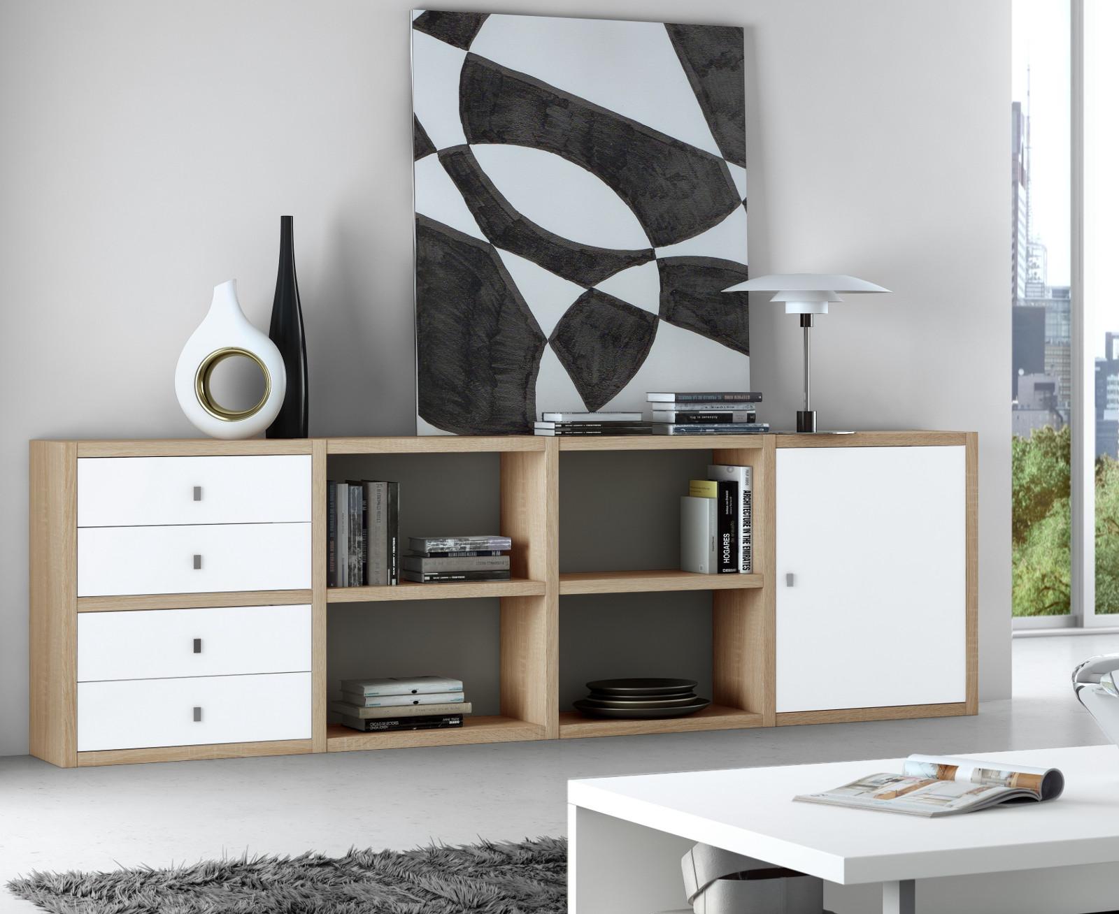 Sideboard Büchersideboard Lack Weiß Eiche Natur