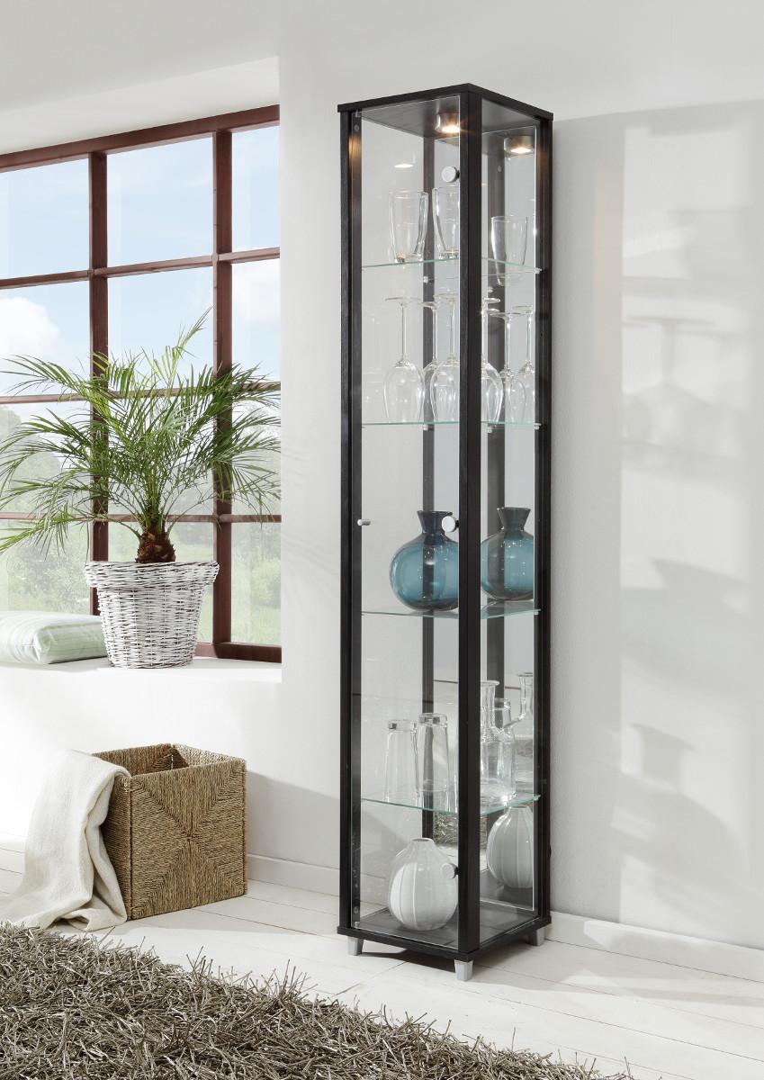 eckvitrine vitrine glasvitrine silberfarben. Black Bedroom Furniture Sets. Home Design Ideas