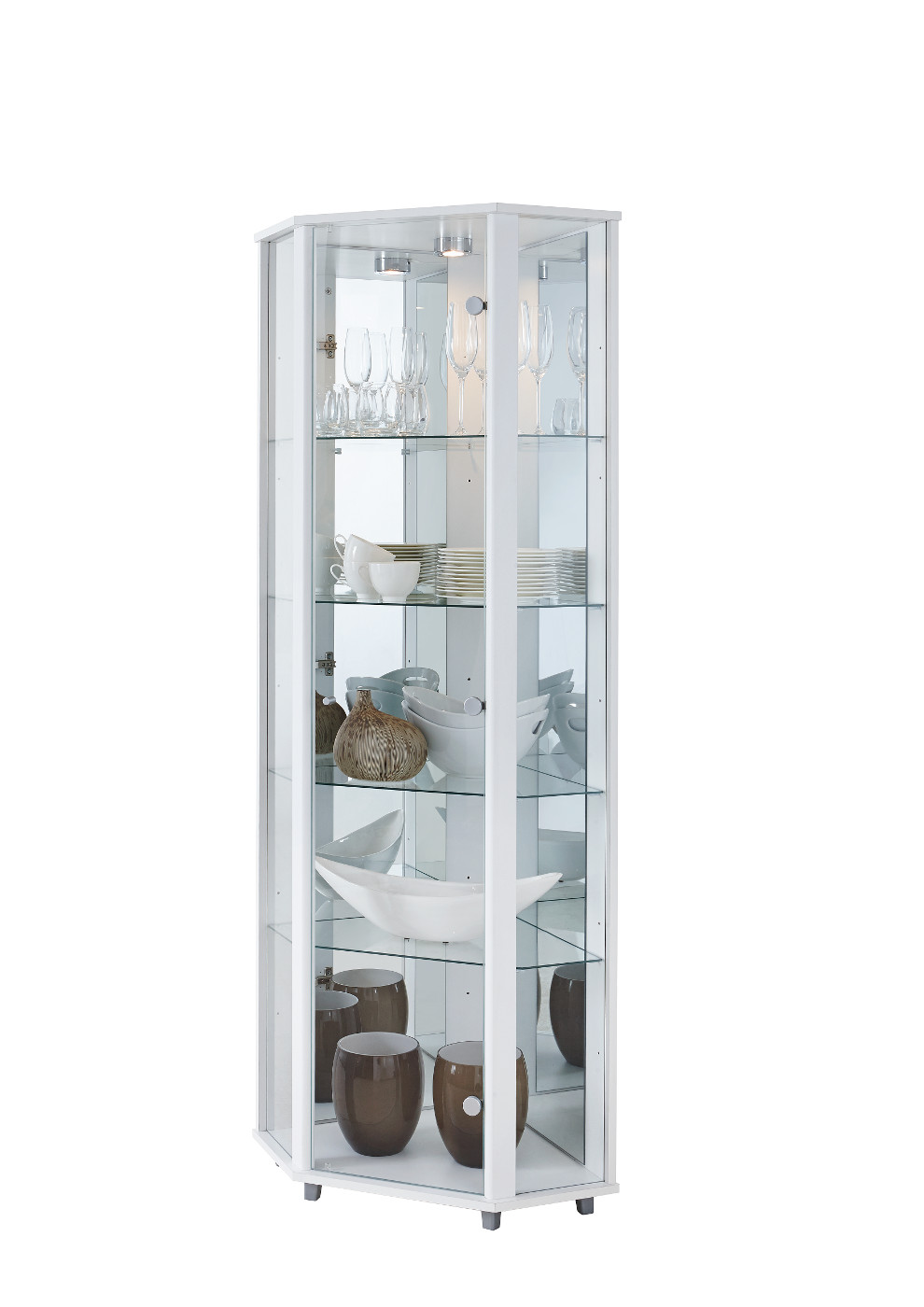 eckvitrine vitrine glasvitrine wei. Black Bedroom Furniture Sets. Home Design Ideas