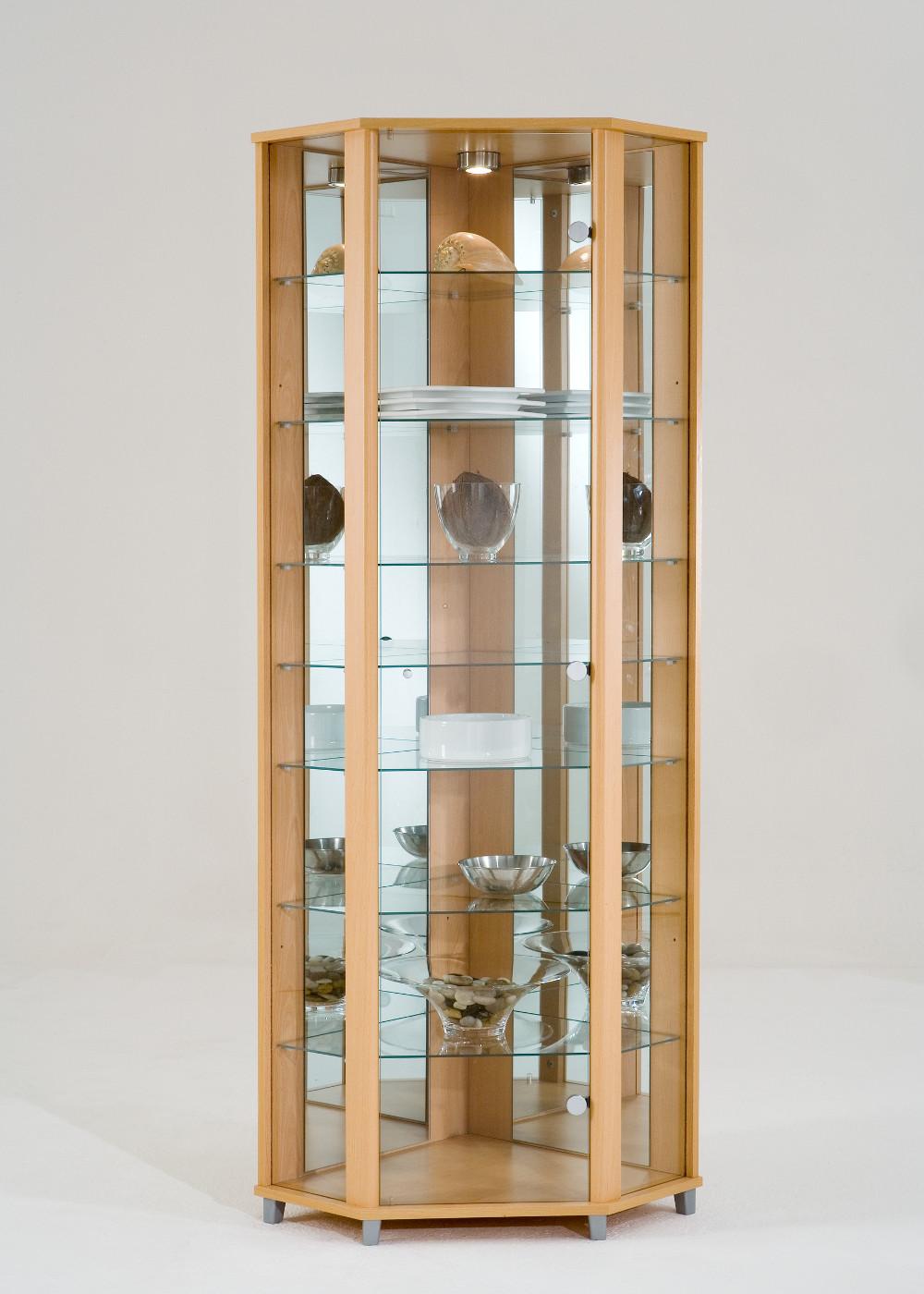 Ikea Groland Island Butcher Block ~ Eckvitrine Glasvitrine weiß mit Spiegelrückwand und Beleuchtung
