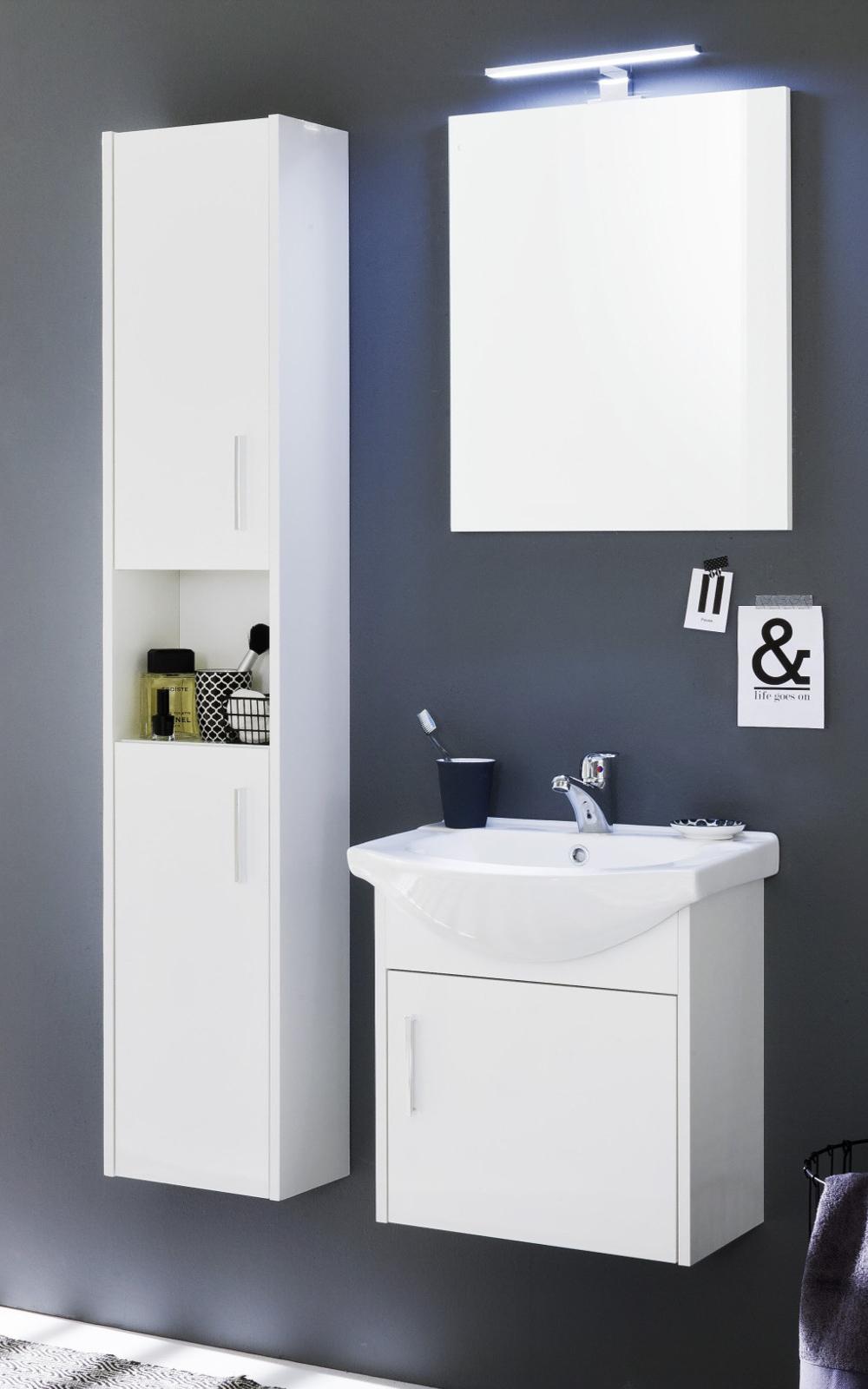 bad hochschrank jersey hochglanz wei und wei dekor. Black Bedroom Furniture Sets. Home Design Ideas