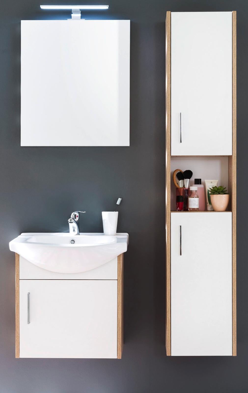 badspiegel jersey in eiche optional led ansatzleuchte. Black Bedroom Furniture Sets. Home Design Ideas