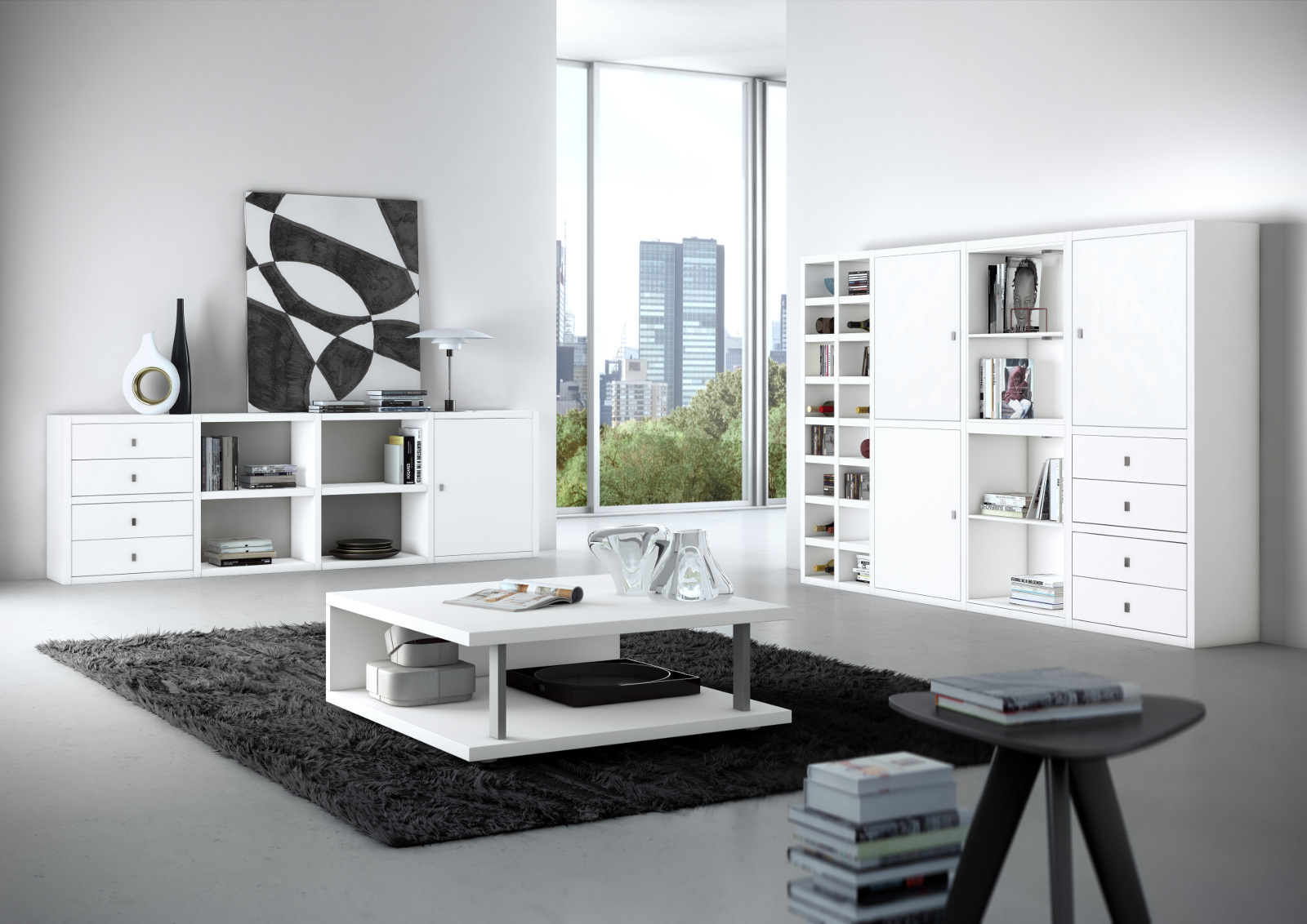 sideboard b chersideboard lack wei eiche natur. Black Bedroom Furniture Sets. Home Design Ideas