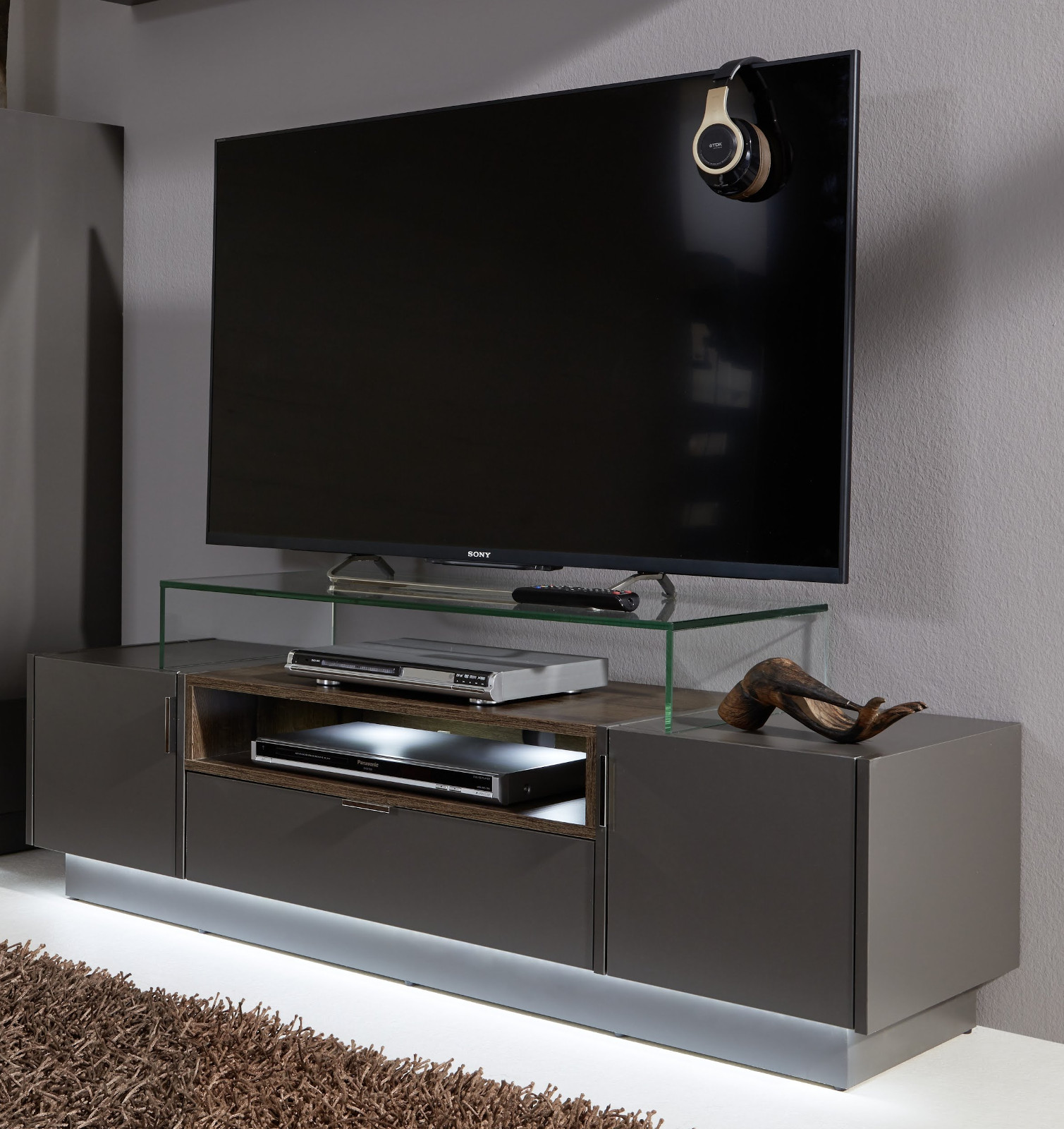 tv board fernsehtisch lowboard grau monastary oak. Black Bedroom Furniture Sets. Home Design Ideas