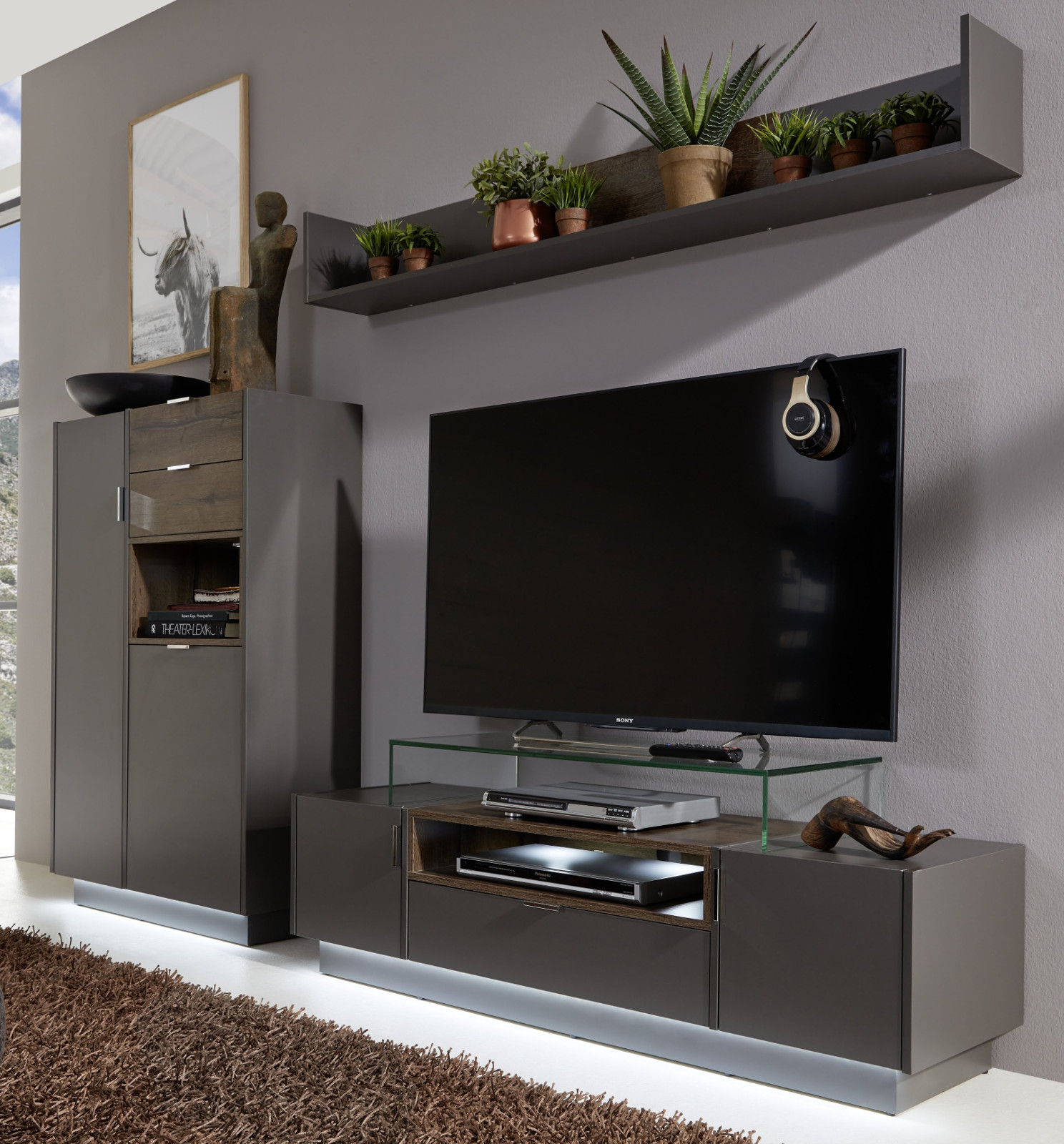 tv lowboard atlanta terra grau und monastary oak 140 cm. Black Bedroom Furniture Sets. Home Design Ideas