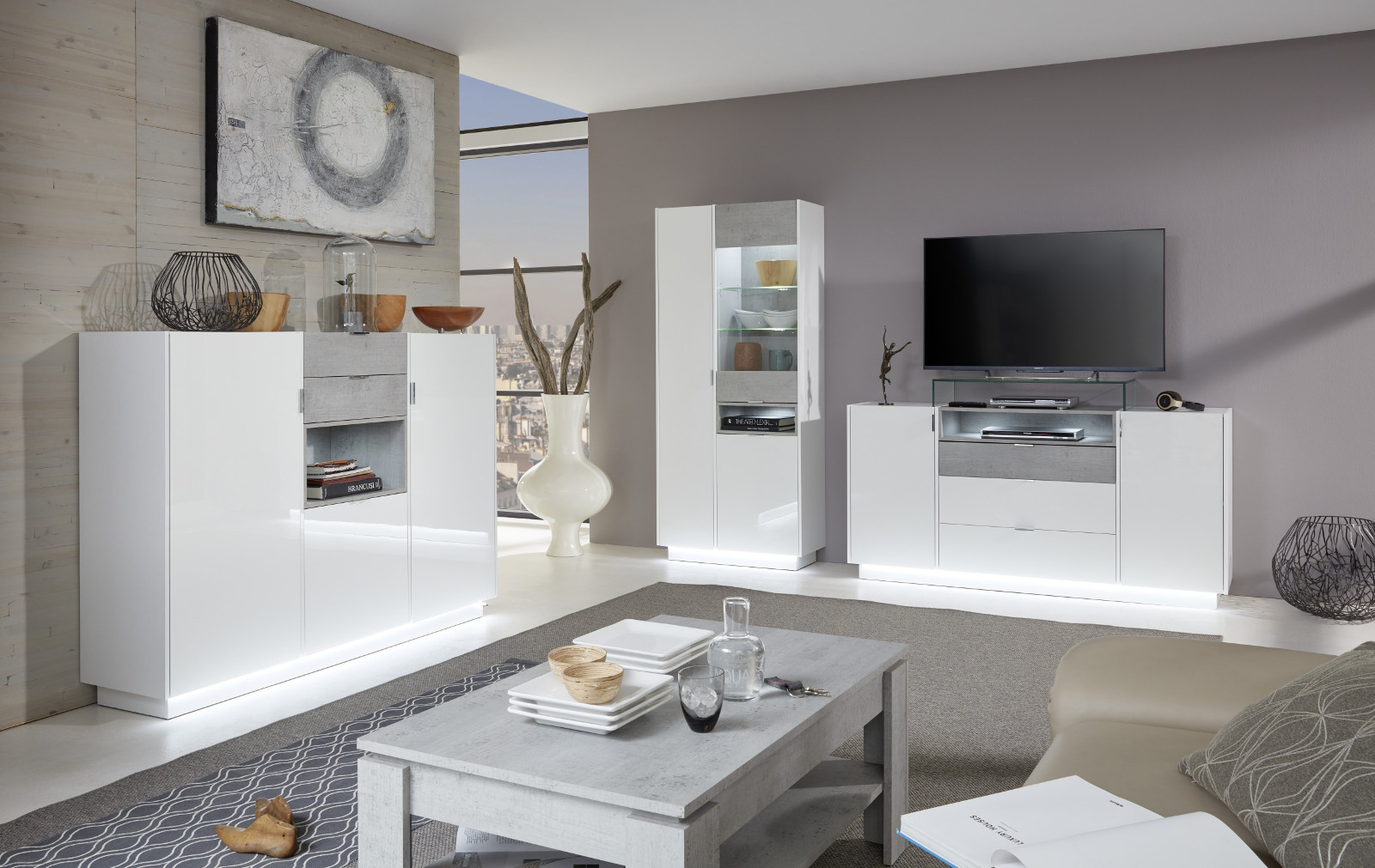 highboard atlanta in hochglanz wei und stone grau. Black Bedroom Furniture Sets. Home Design Ideas
