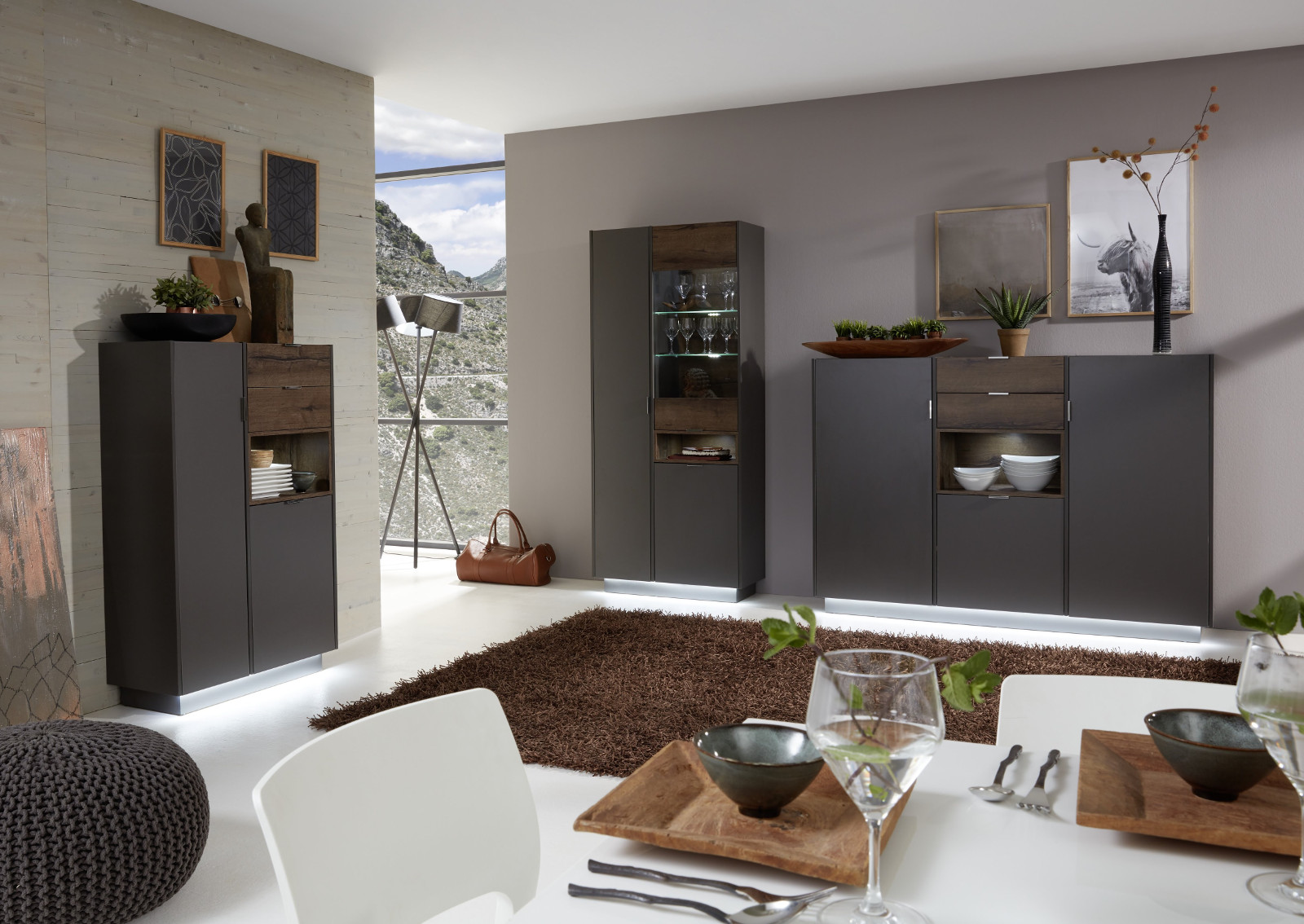 highboard atlanta in terra grau und monastary oak dekor. Black Bedroom Furniture Sets. Home Design Ideas