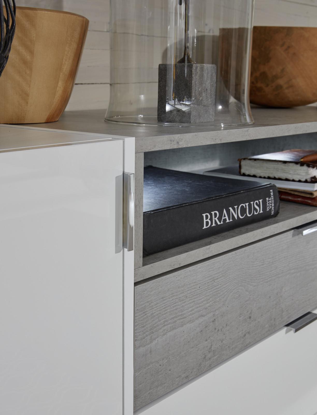 sideboard atlanta hochglanz wei und stone grau dekor. Black Bedroom Furniture Sets. Home Design Ideas
