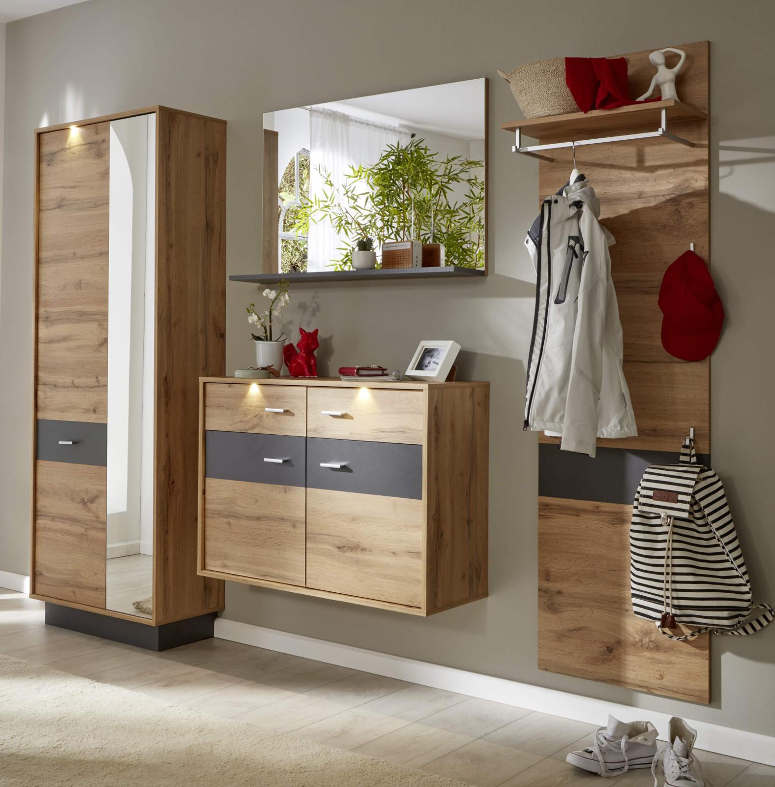 garderobe coast wotan eiche dekor und grau 4 teilig. Black Bedroom Furniture Sets. Home Design Ideas