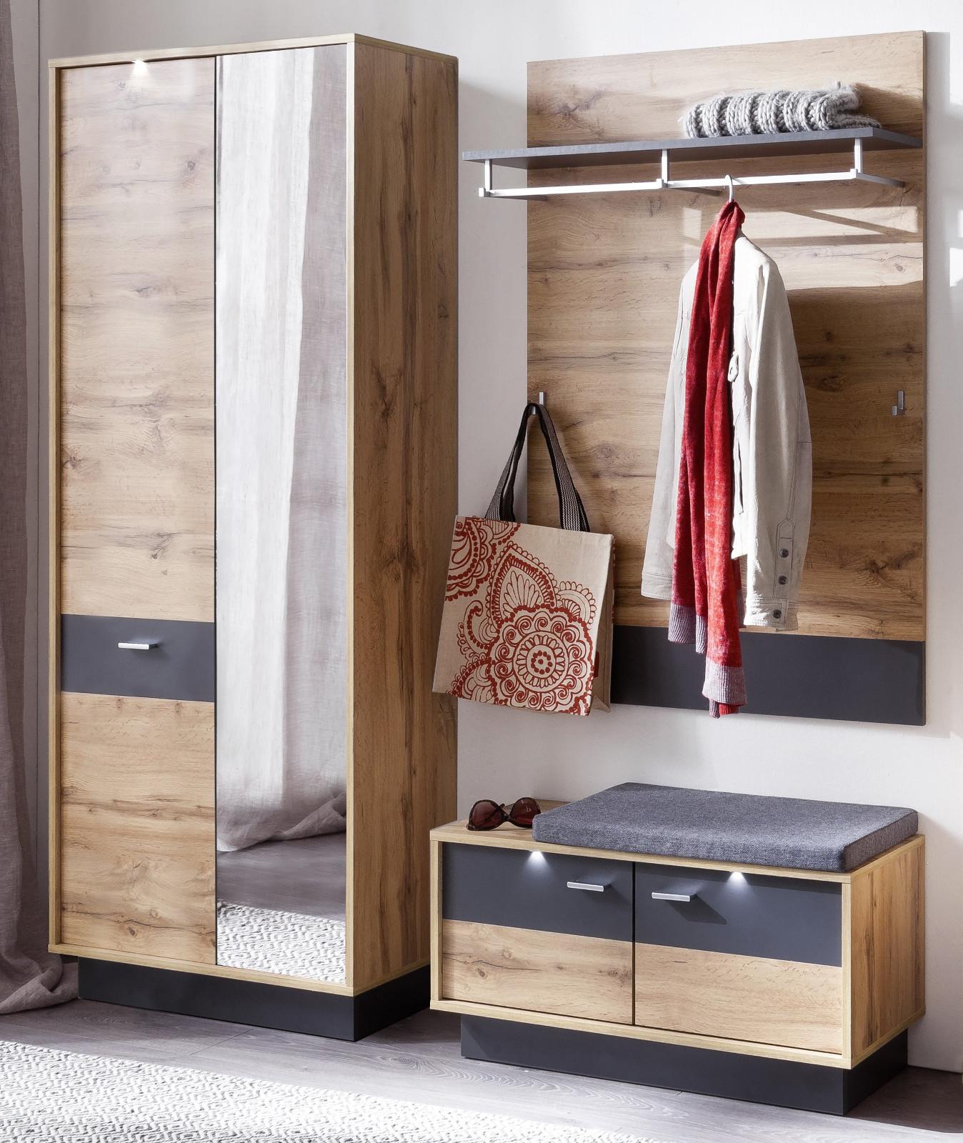 garderobe coast wotan eiche dekor und grau 3 teilig. Black Bedroom Furniture Sets. Home Design Ideas
